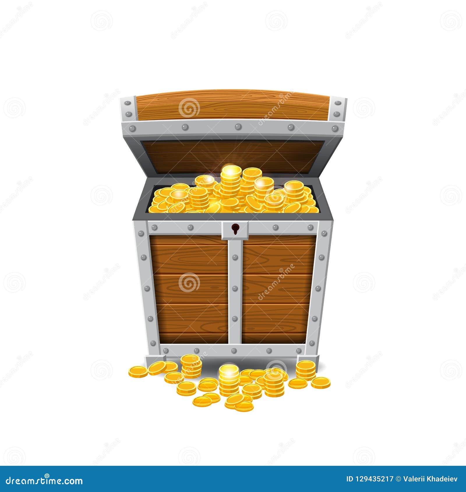 Ξύλινα παλαιά στήθη πειρατών, πλήρη των θησαυρών, χρυσά νομίσματα, θησαυροί, διάνυσμα, ύφος κινούμενων σχεδίων, απεικόνιση, που α