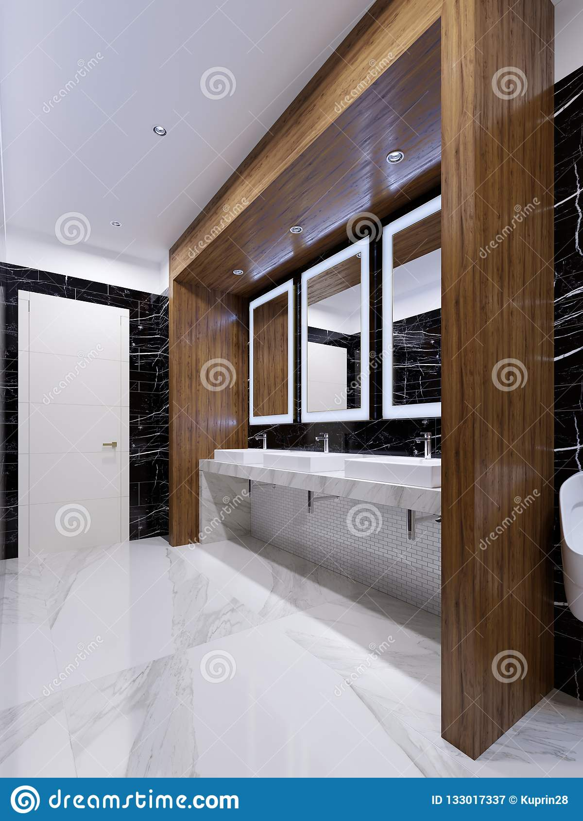 Ξύλινη θέση με τους καθρέφτες, τα φω τα και τους νεροχύτες στον τοίχο του μαύρου μαρμάρου σε μια δημόσια τουαλέτα