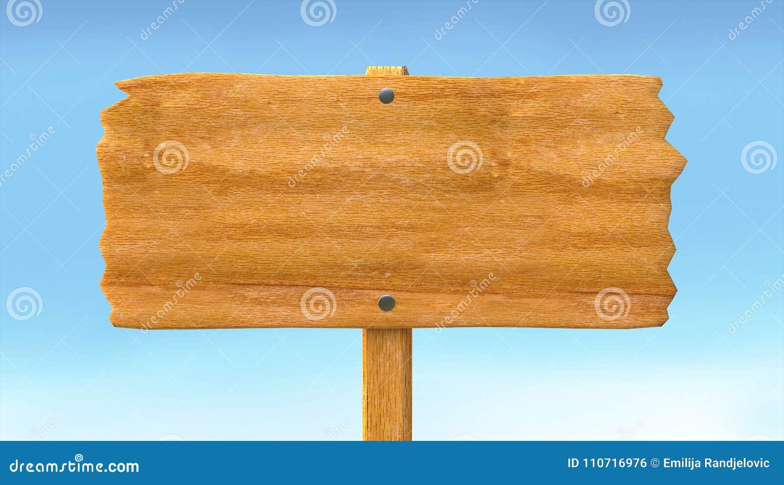 Ξύλινοι κενοί κενοί πίνακας σημαδιών και υπόβαθρο μπλε ουρανού