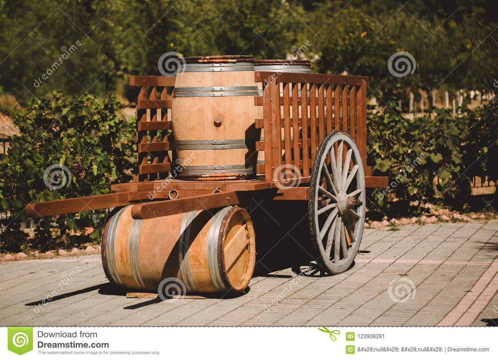 Ξύλινο βαρέλι με το κόκκινο και wihte κρασί για τη δοκιμή στο κάρρο στον αμπελώνα Κατασκευασμένο αντικείμενο