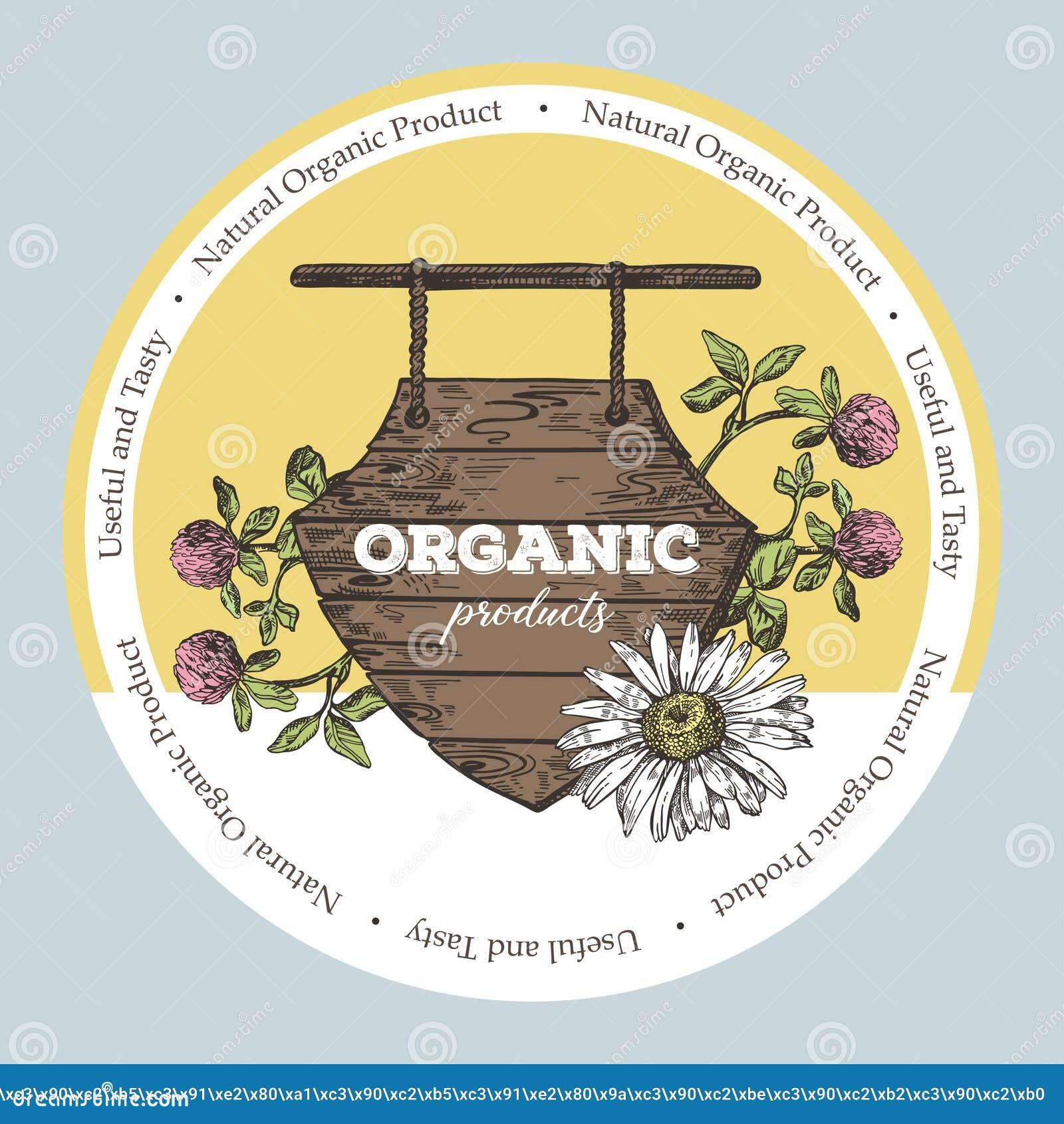 Ξύλινο σημάδι και άγρια λουλούδια Απεικόνιση ύφους σκίτσων Κατάλληλος για το σχέδιο των φυσικών προϊόντων και των καλλυντικών