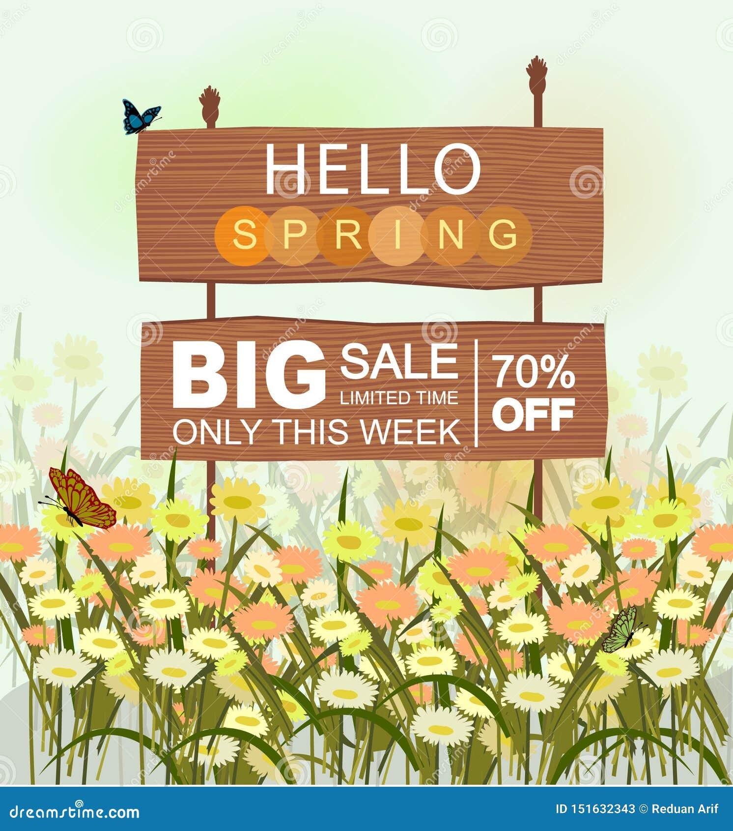 Ξύλινο σημάδι πώλησης με γειά σου την εγγραφή ανοίξεων, με τα λουλούδια και τις πεταλούδες