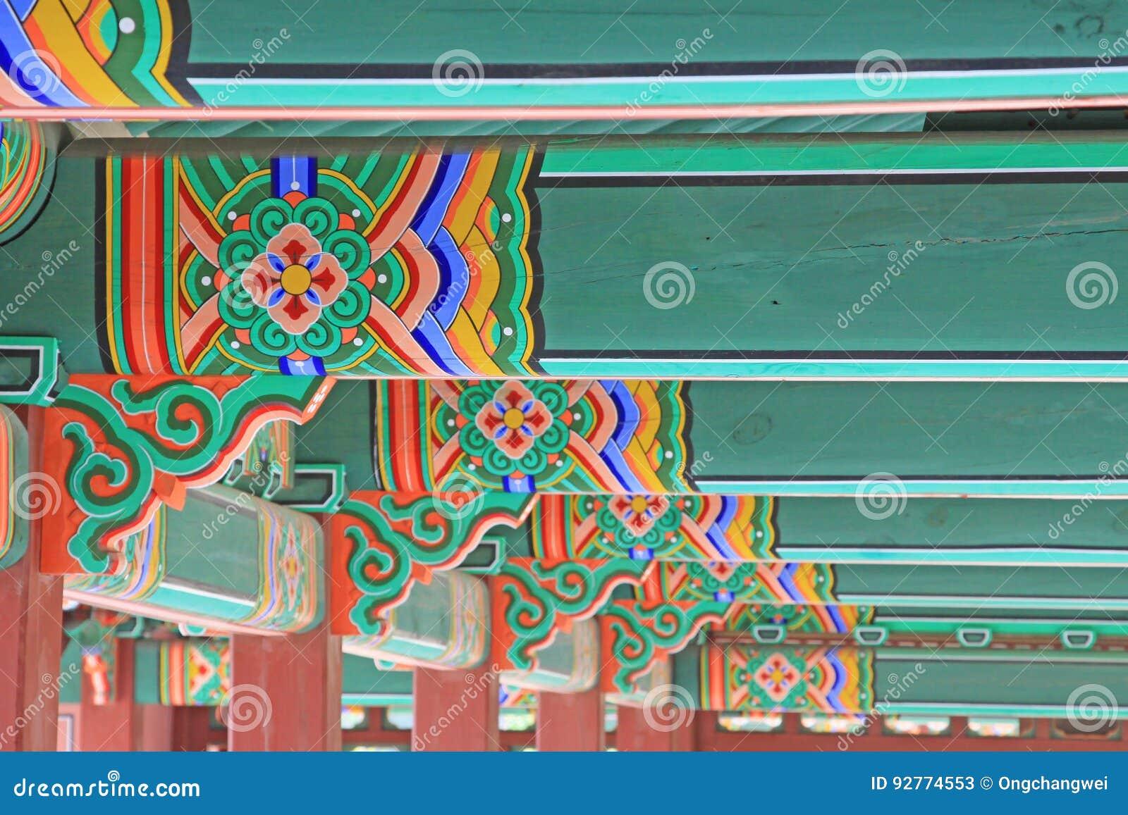 Ξύλινη ζωγραφική ακτίνων στεγών της Κορέας