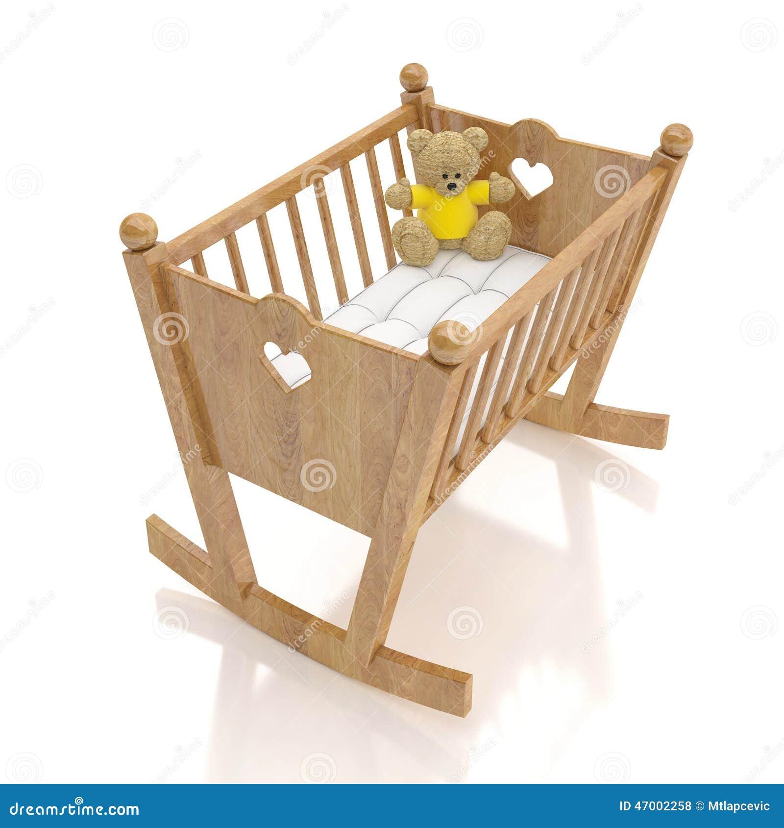 Ξύλινο λίκνο μωρών με το παιχνίδι αρκούδων που απομονώνεται στο άσπρο υπόβαθρο