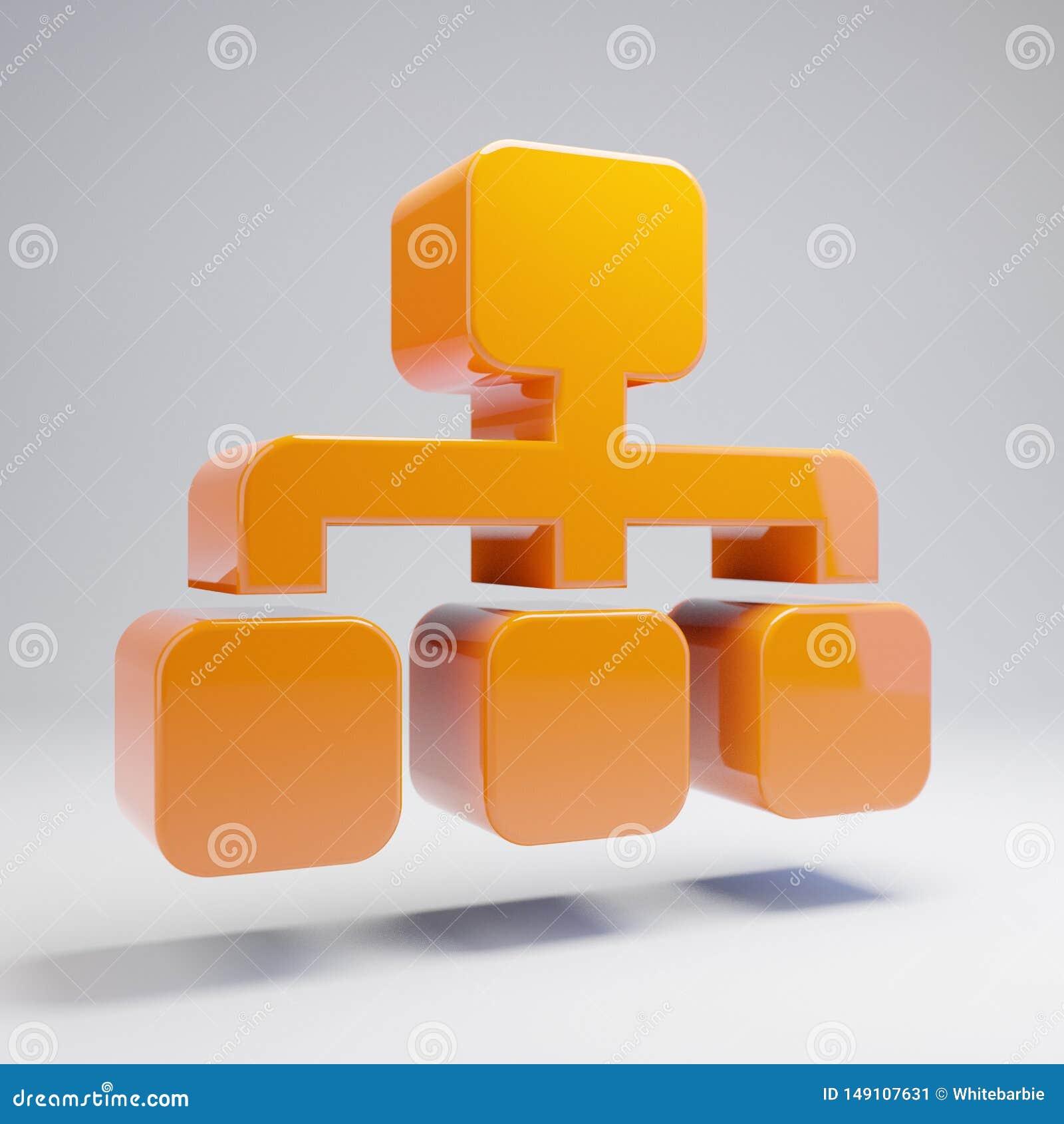 Ογκομετρικό στιλπνό καυτό πορτοκαλί εικονίδιο Sitemap που απομονώνεται στο άσπρο υπόβαθρο