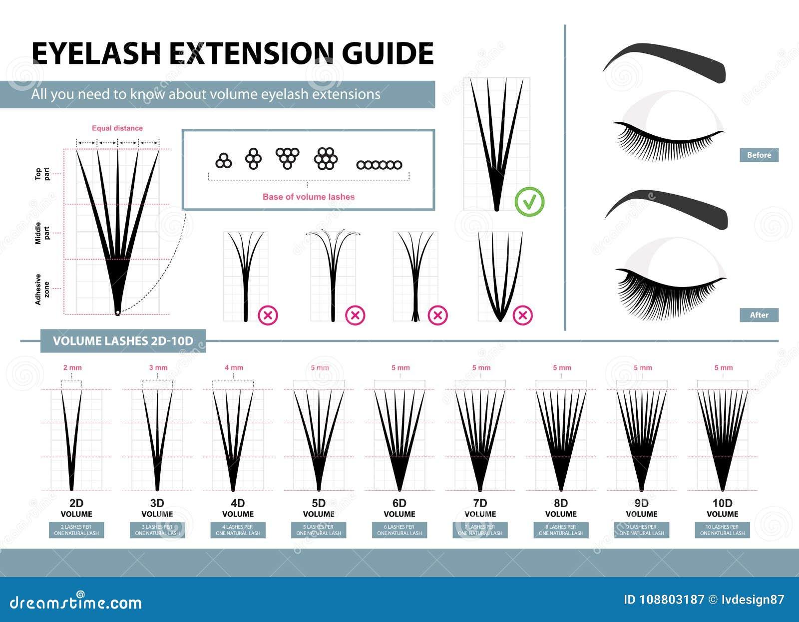 Οδηγός επέκτασης Eyelash Επεκτάσεις όγκου eyelash 2D - 10D όγκος Άκρες και τεχνάσματα Διανυσματική απεικόνιση Infographic