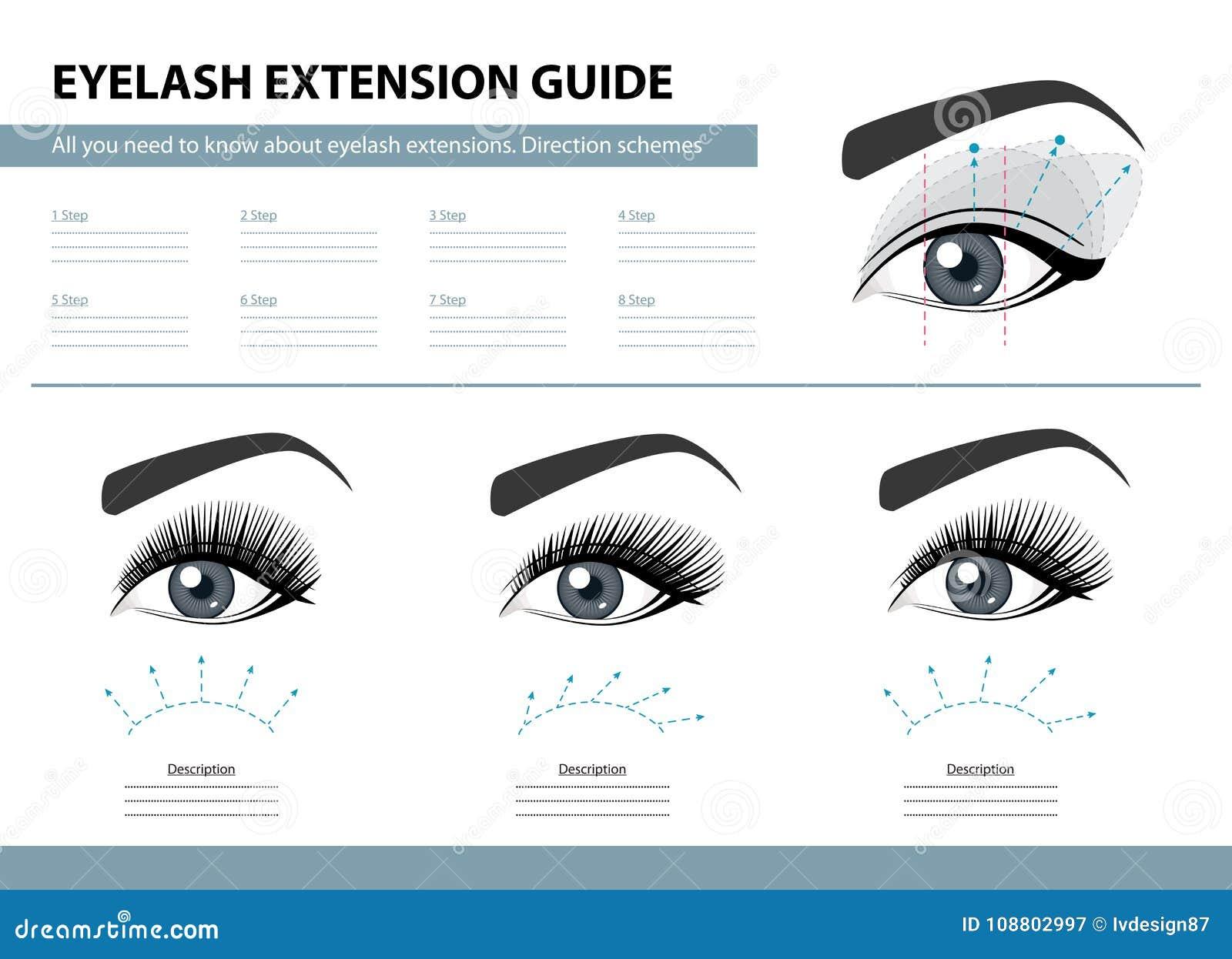 Οδηγός επέκτασης Eyelash Σχέδια κατεύθυνσης Άκρες και τεχνάσματα για την επέκταση μαστιγίων Διανυσματική απεικόνιση Infographic Π