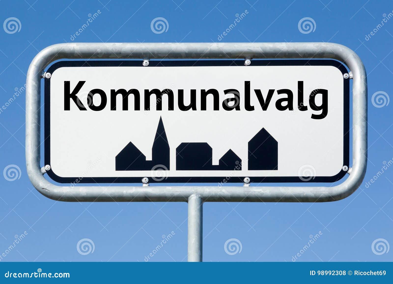 Οδικό σημάδι με τις δανικές εκλογές δήμων κειμένων δανικές
