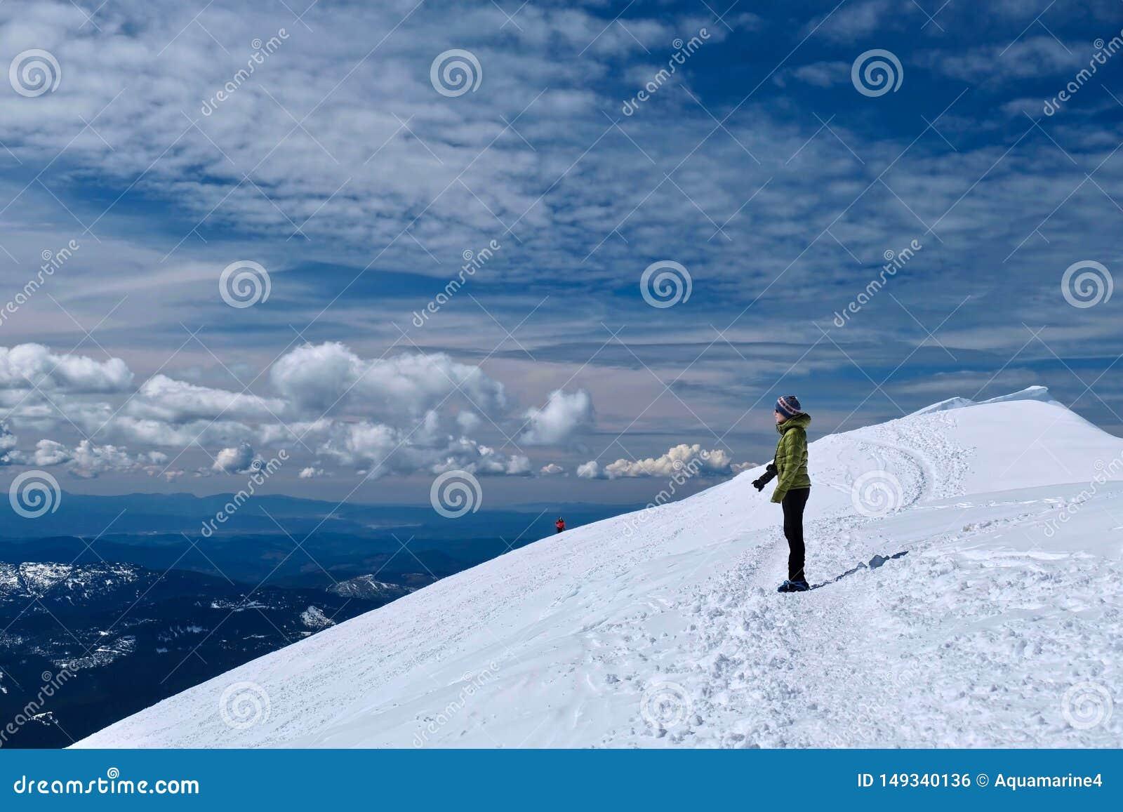 Οδοιπόρος γυναικών στην κορυφή βουνών που εξετάζει τη φυσική άποψη