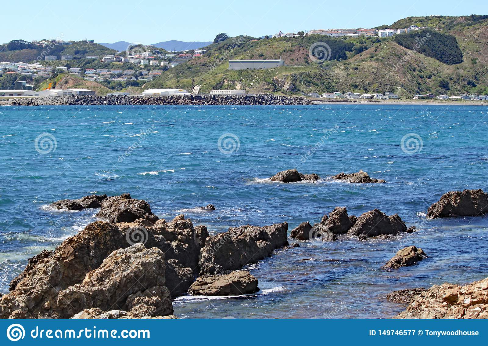 Οδοντωτοί βράχοι στην άκρη του κόλπου Lyall στον Ουέλλινγκτον, Νέα Ζηλανδία Τα κτήρια αερολιμένων μπορούν ακριβώς να δουν στο υπό