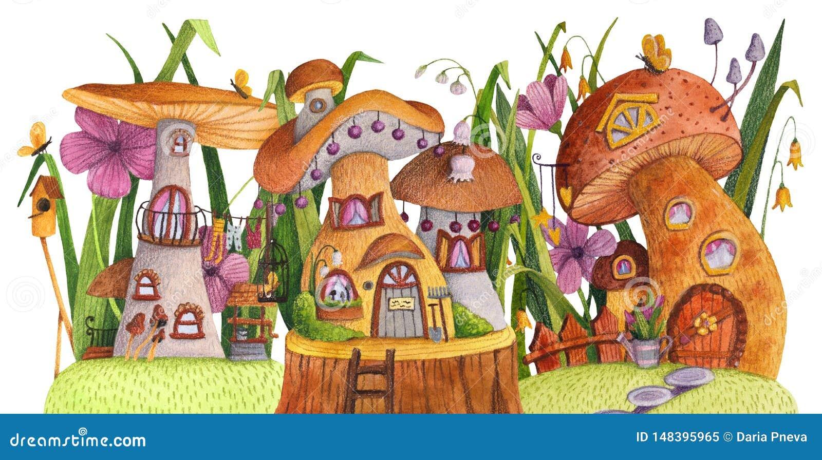 Οδός των σπιτιών μανιταριών με τη χλόη, λουλούδια, πεταλούδα, να τοποθετηθεί κιβώτιο, φράκτης, έμβλημα και καλά