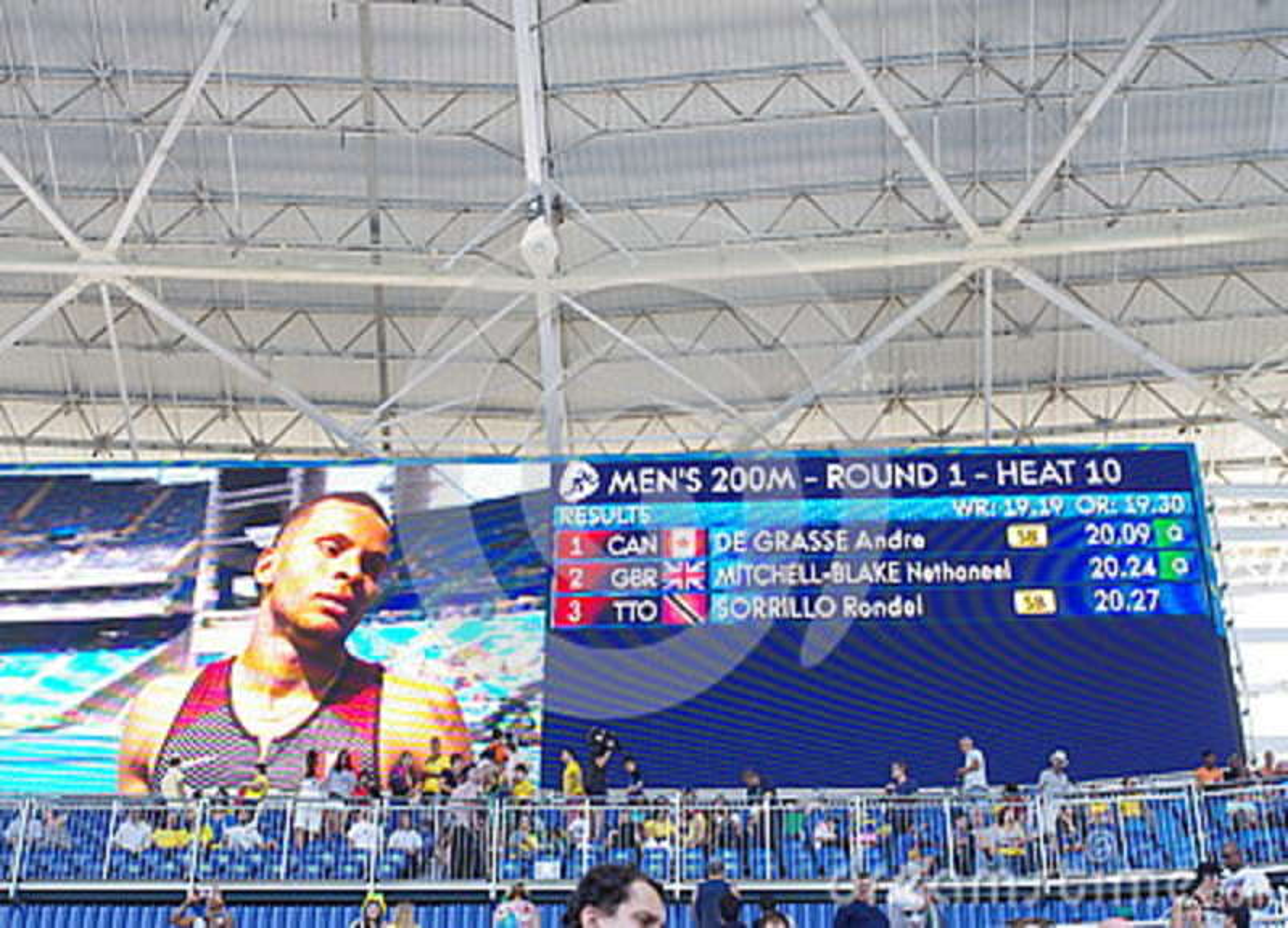 Οθόνη με το Andre de Grasse στους Ολυμπιακούς Αγώνες Rio2016