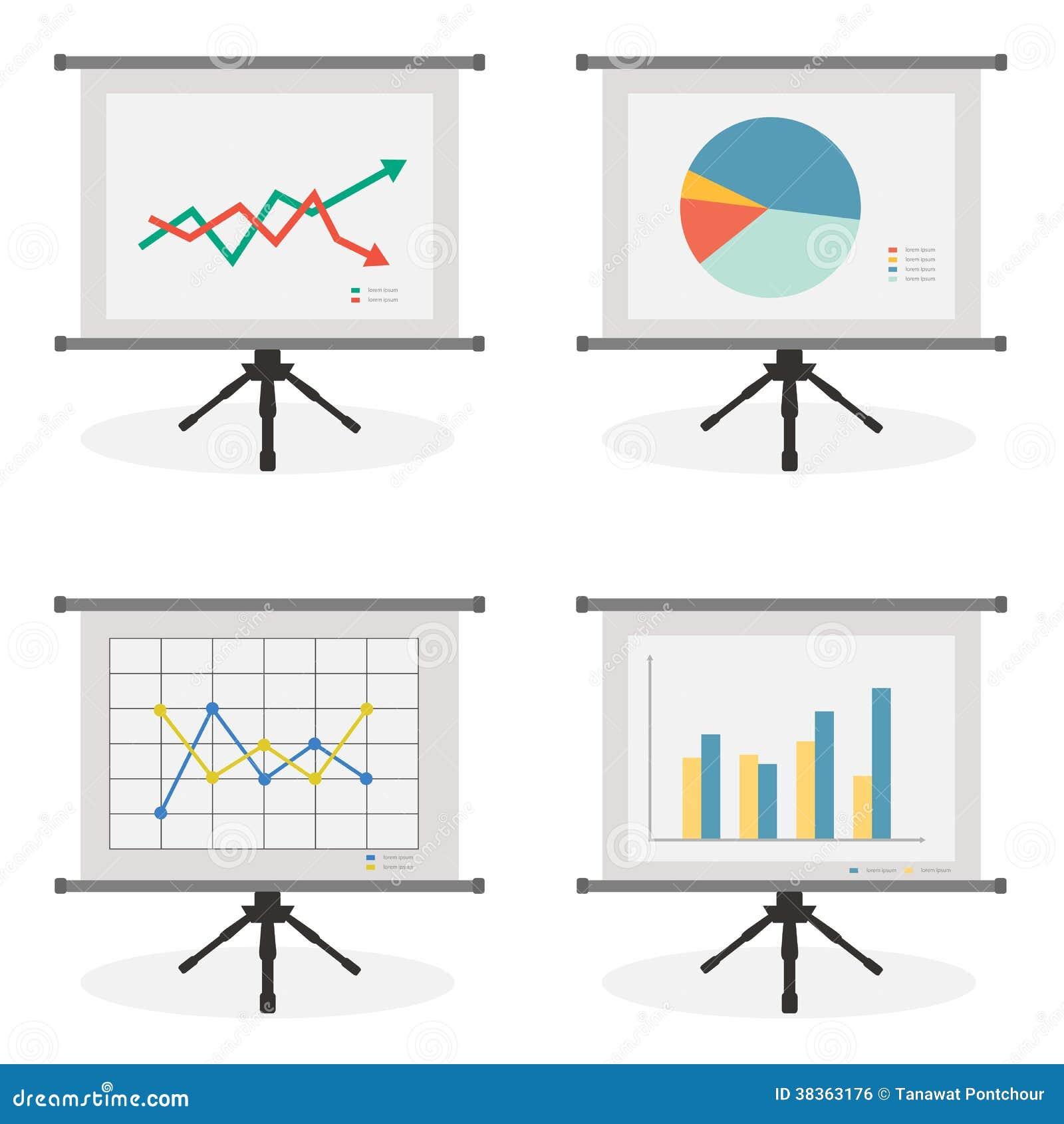 Οθόνη παρουσίασης με το απόθεμα, την πίτα, τη γραμμή και το ιστόγραμμα