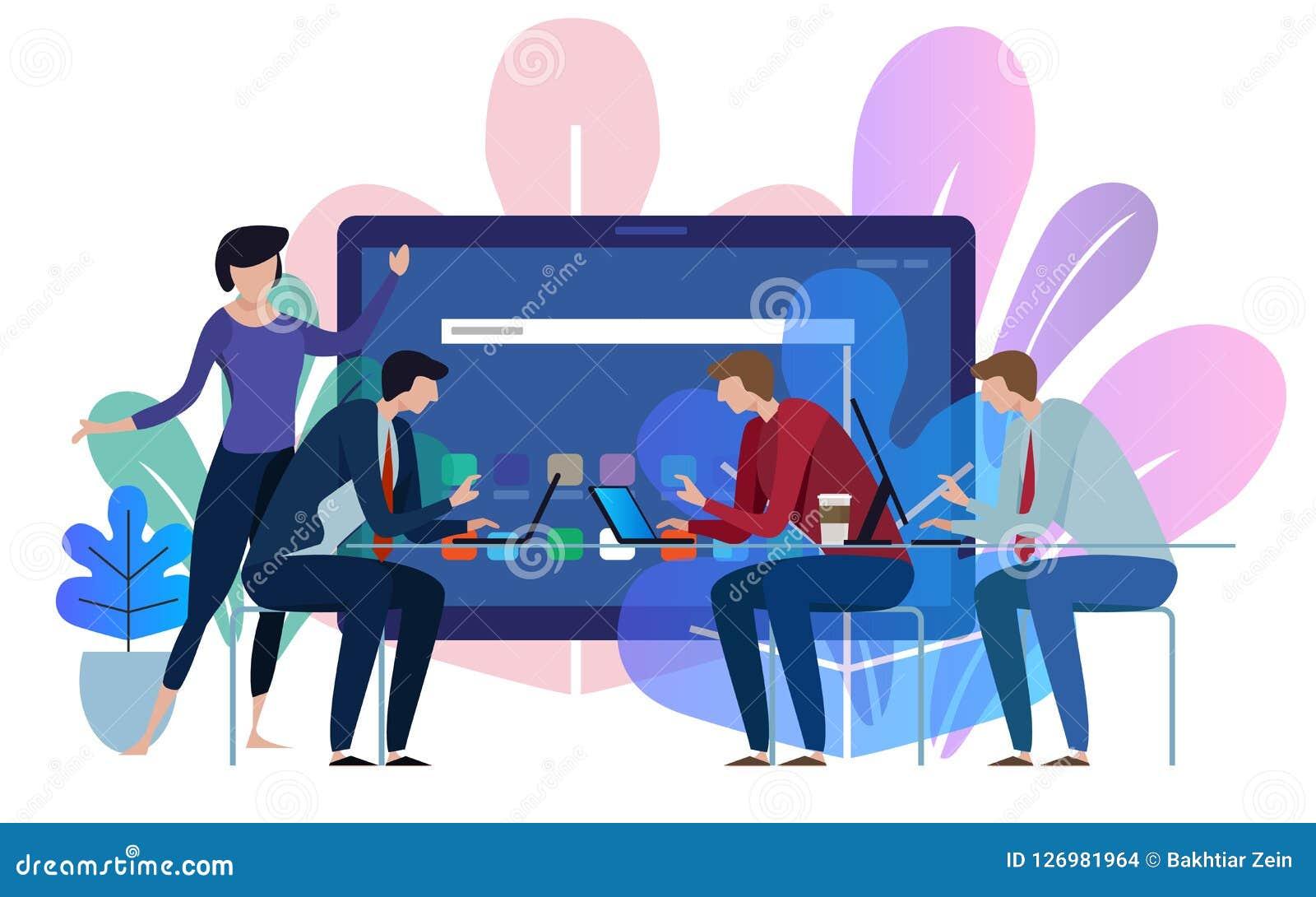 Οθόνη συσκευών ταμπλετών Εργασία επιχειρησιακών ομάδων που μιλά μαζί στο μεγάλο γραφείο διασκέψεων λευκό απεικόνισης δακτυλικών α