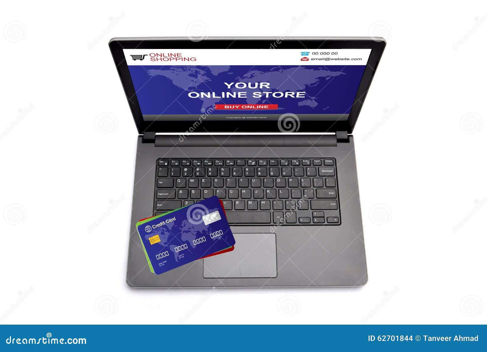 Οθόνη lap-top με τον ιστοχώρο αγορών και πιστωτική κάρτα στο πληκτρολόγιο
