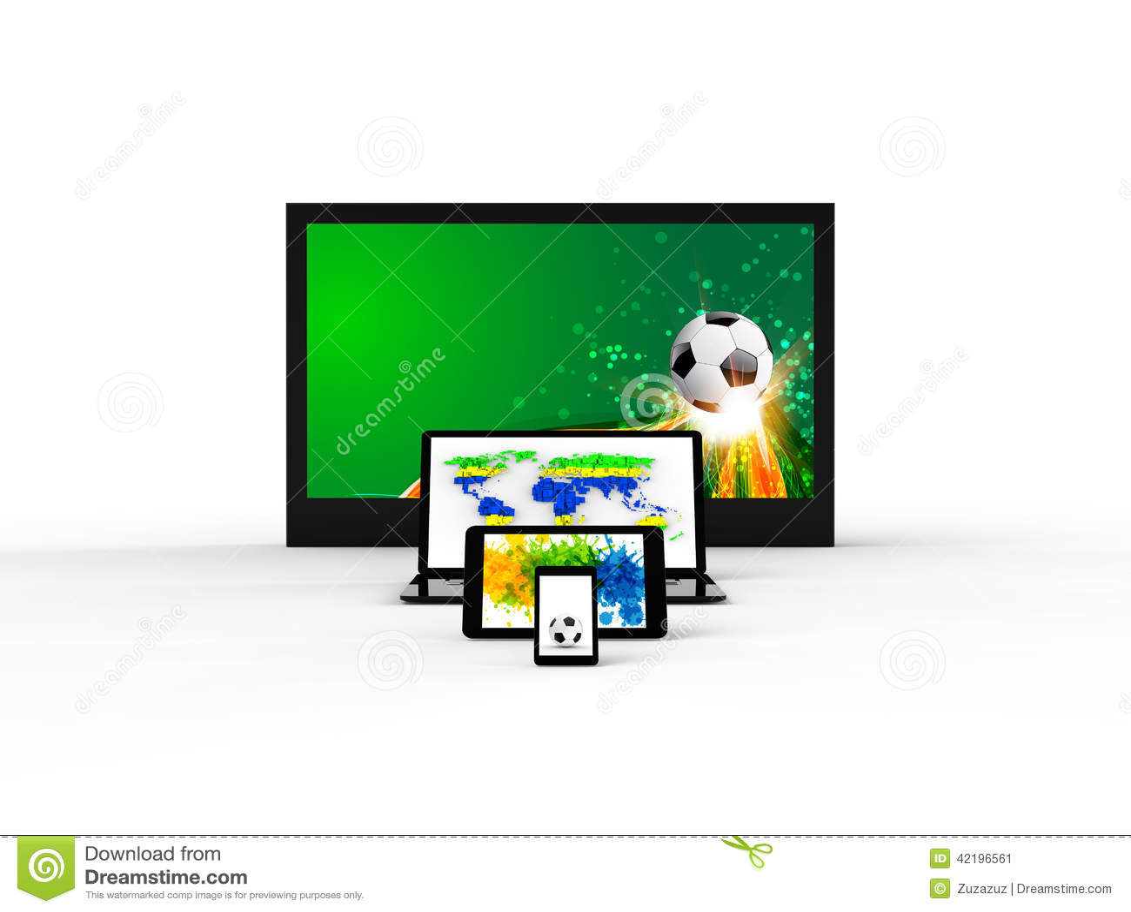 Οθόνη TV, nootebook, ταμπλέτα, smartphone με την έννοια ποδοσφαίρου