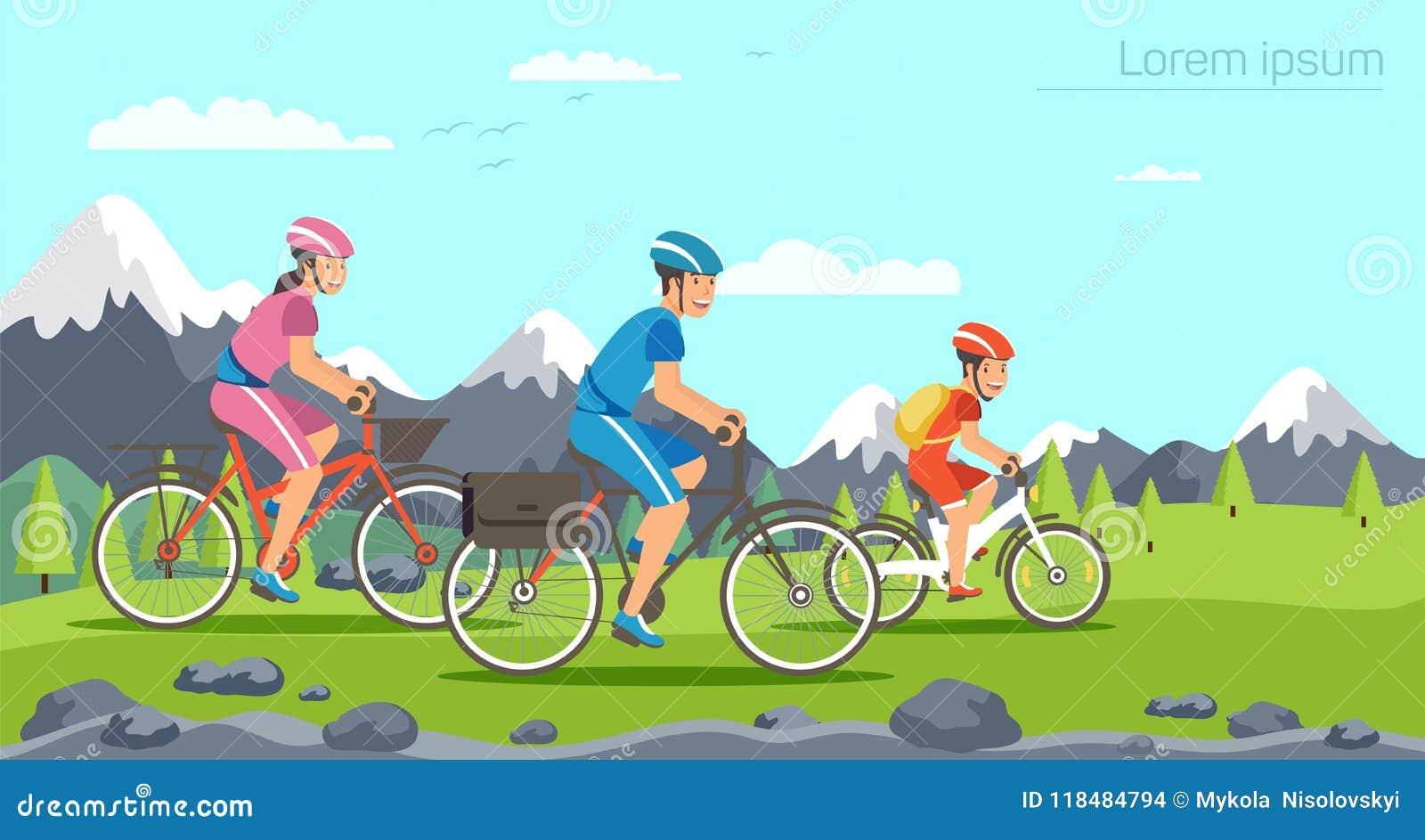 Οικογένεια κινούμενων σχεδίων που οδηγά στα ποδήλατα Βουνά