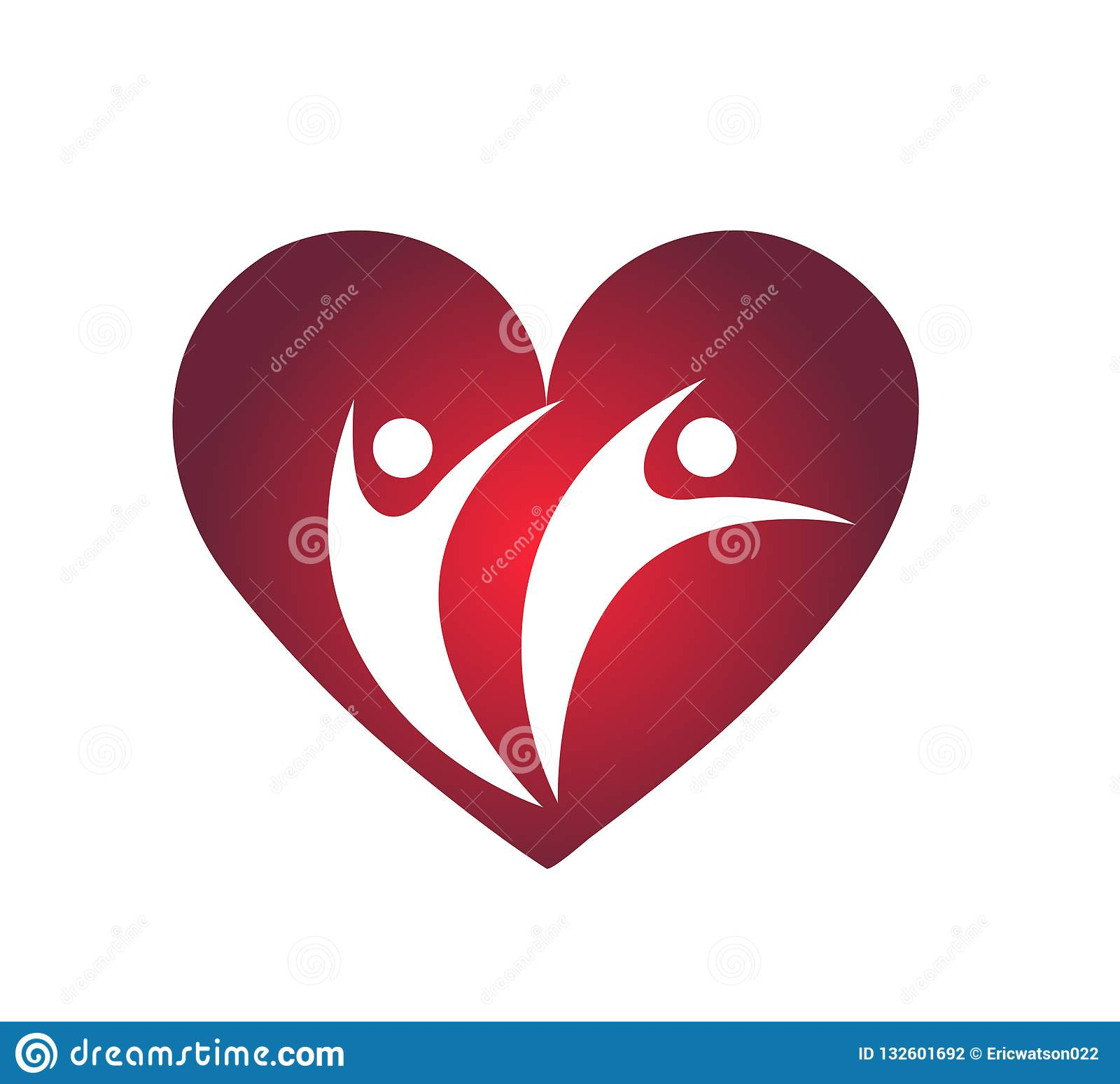 Οικογενειακή αγάπη με το κόκκινο σημάδι στοιχείων εικονιδίων λογότυπων έννοιας επιχείρησης καρδιών στο άσπρο υπόβαθρο