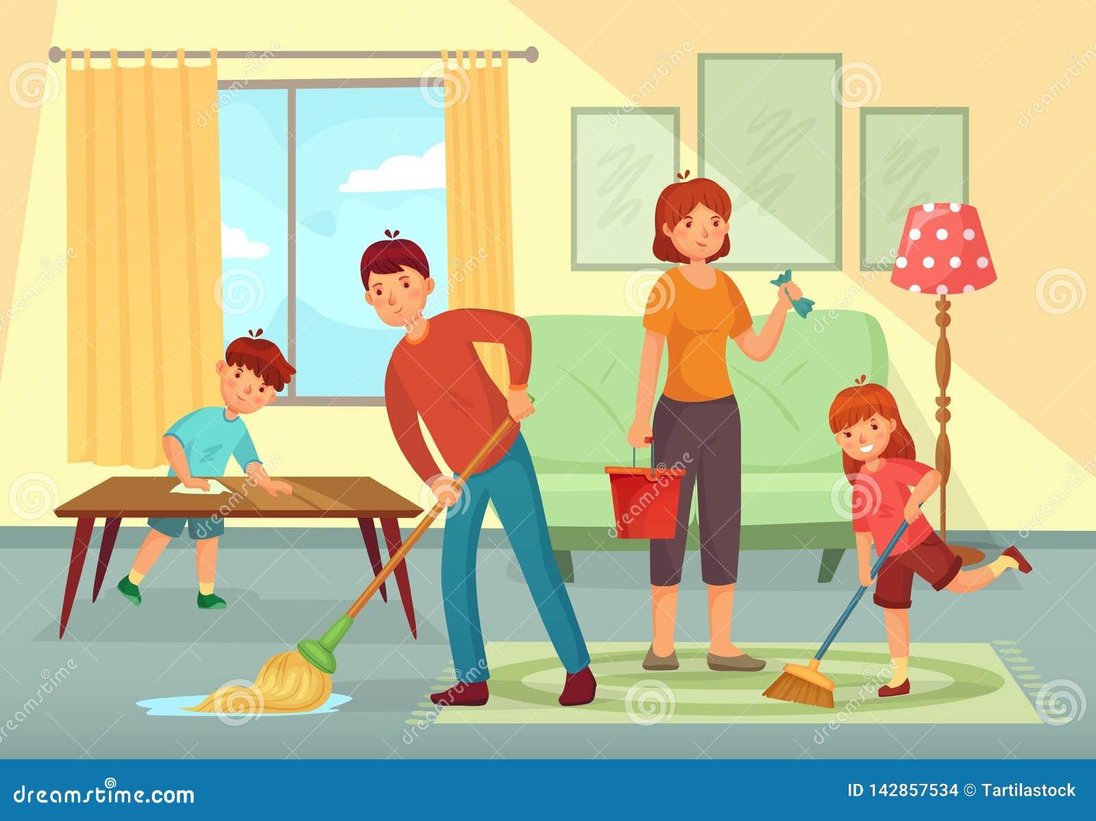 Οικογενειακό καθαρίζοντας σπίτι Πατέρας, μητέρα και παιδιά που καθαρίζουν τη διανυσματική απεικόνιση κινούμενων σχεδίων οικιακών