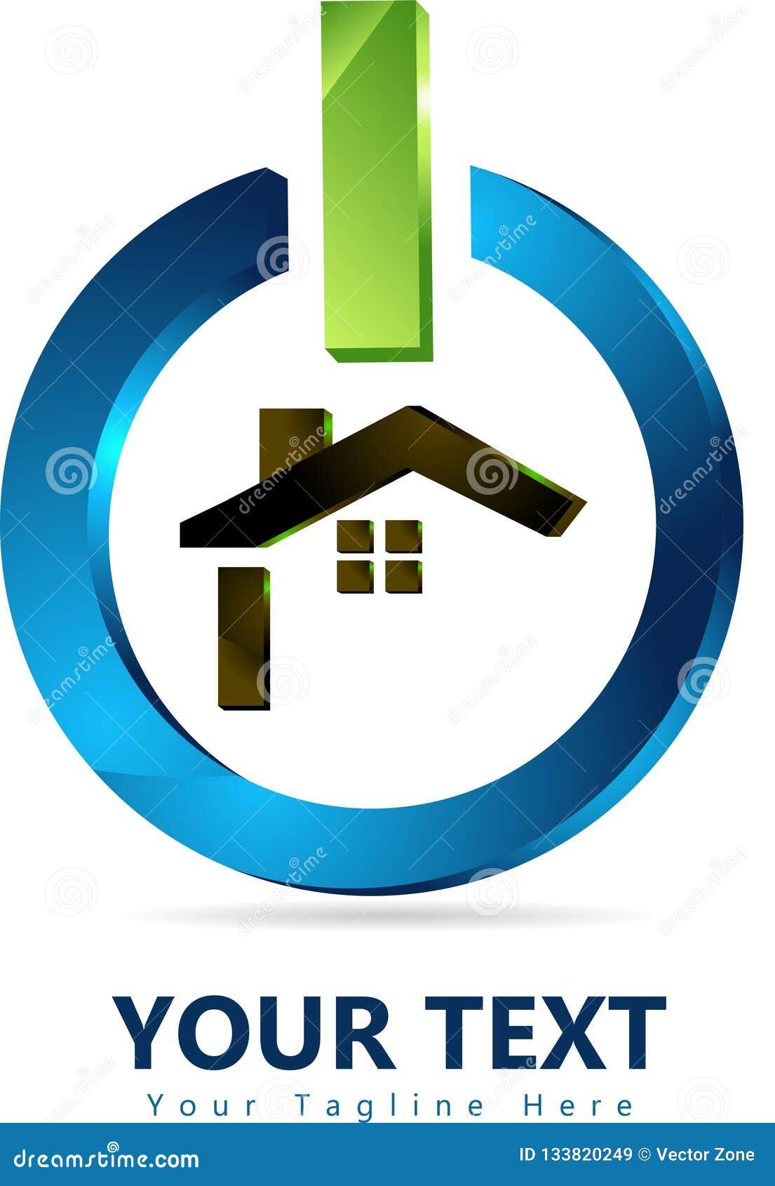Οικογενειακό σπίτι, σχέδιο εγχώριων λογότυπων στο τρισδιάστατο κουμπί δύναμης