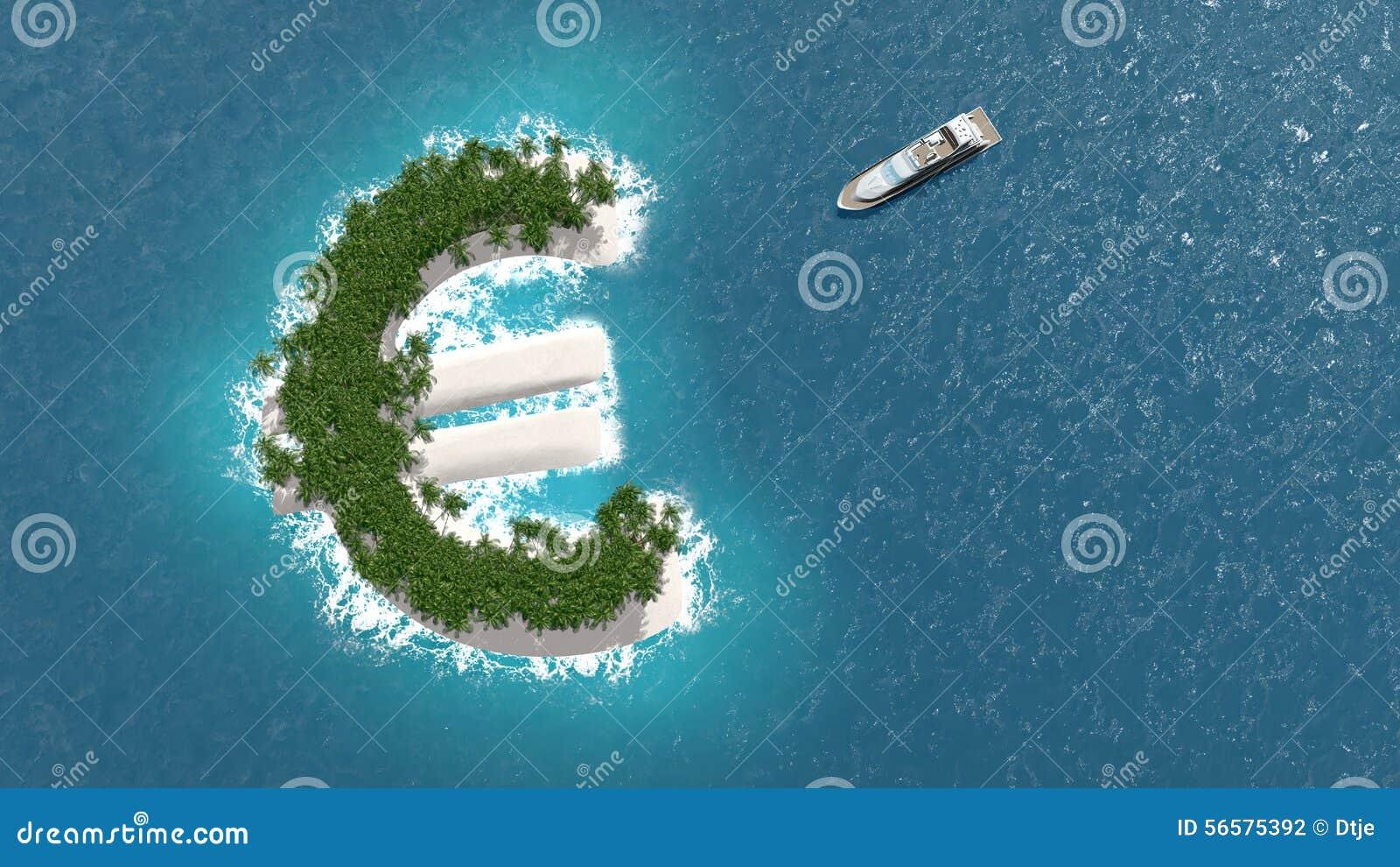 Οικονομικής ή πλούτου διαφυγή φορολογικών παραδείσων, σε ένα ευρο- νησί Μια βάρκα πολυτέλειας πλέει στο νησί