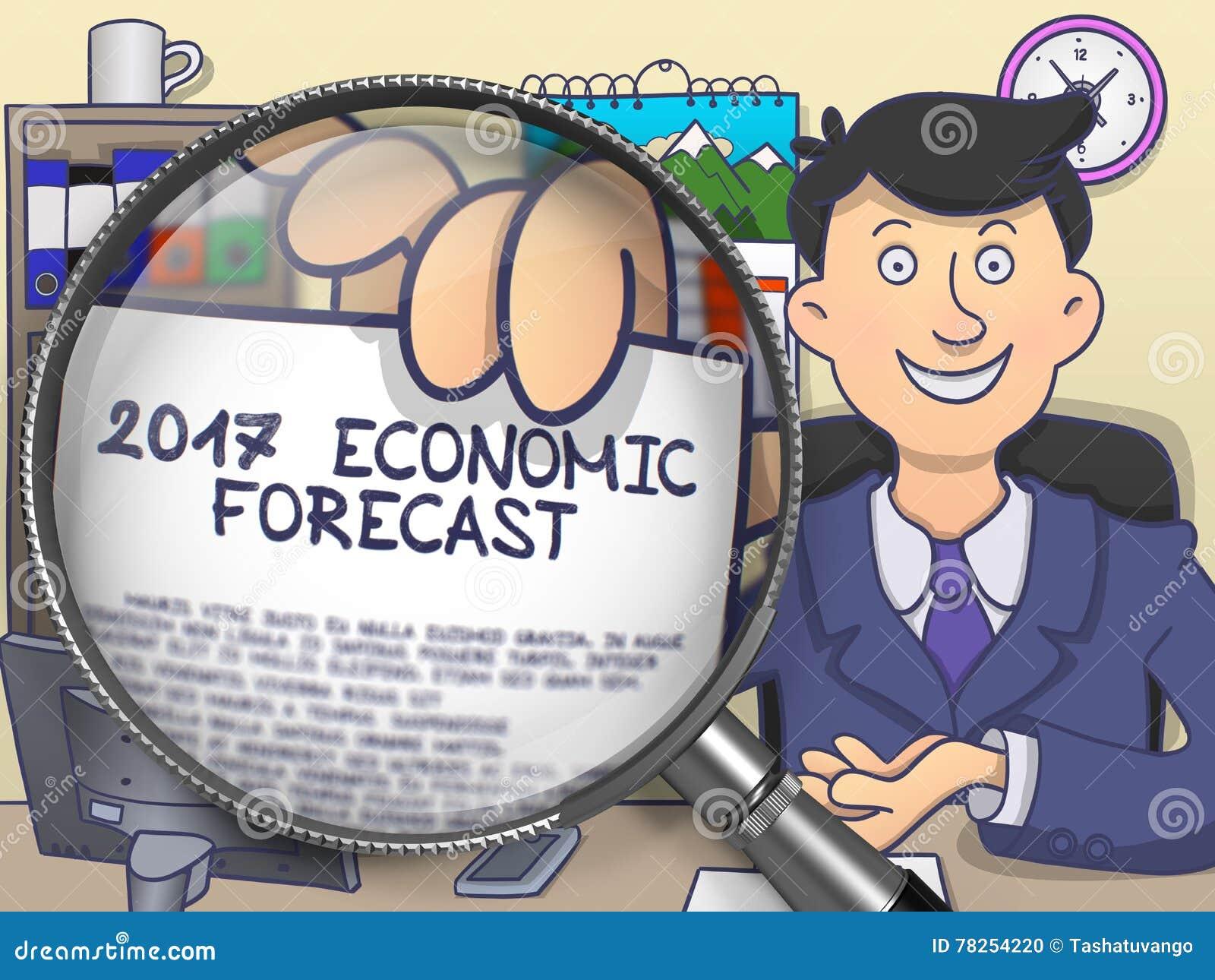 2017 οικονομική πρόβλεψη μέσω του φακού Έννοια Doodle