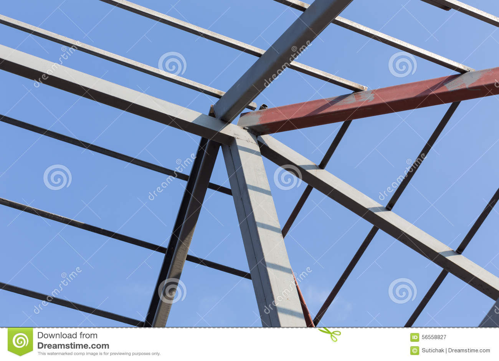 Download Οικοδόμηση κατοικημένου κτηρίου ζευκτόντων στεγών ακτίνων χάλυβα Στοκ Εικόνα - εικόνα από αρχιτεκτονικής, δοκός: 56558827