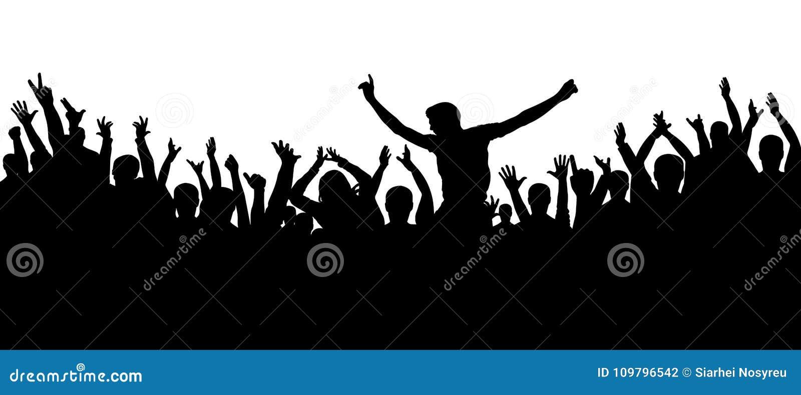 Οι άνθρωποι κόμματος, επιδοκιμάζουν Εύθυμο υπόβαθρο σκιαγραφιών πλήθους Συναυλία χορού ανεμιστήρων, disco
