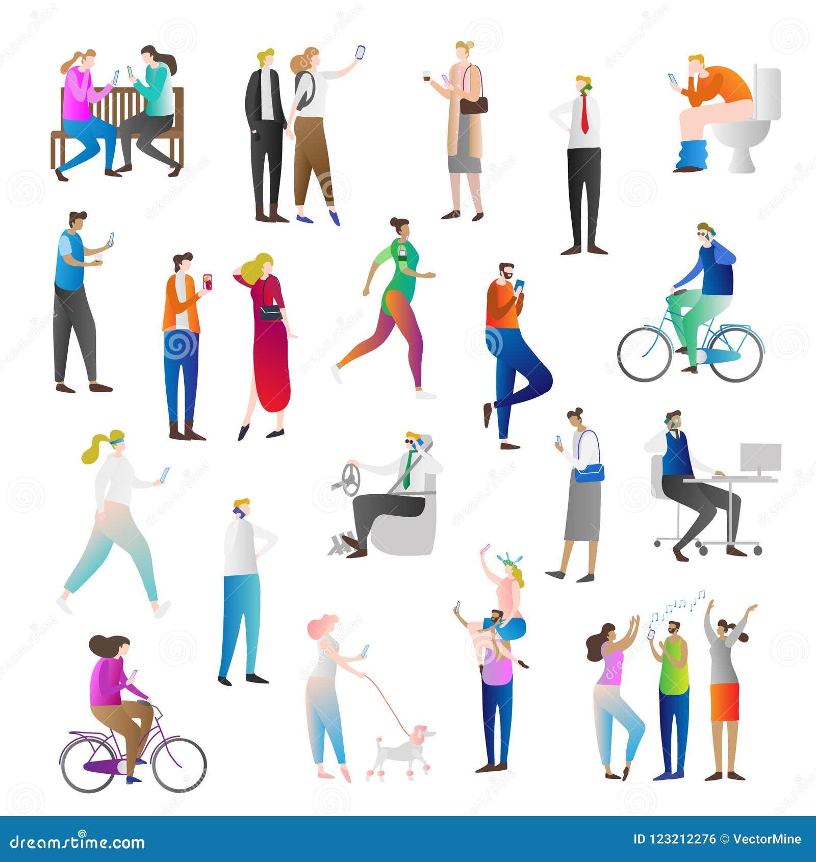 Οι άνθρωποι με το κύτταρο τηλεφωνούν στο διανυσματικό σύνολο συλλογής εικονιδίων απεικόνισης Ο άνθρωπος κρατά το έξυπνο τηλέφωνο