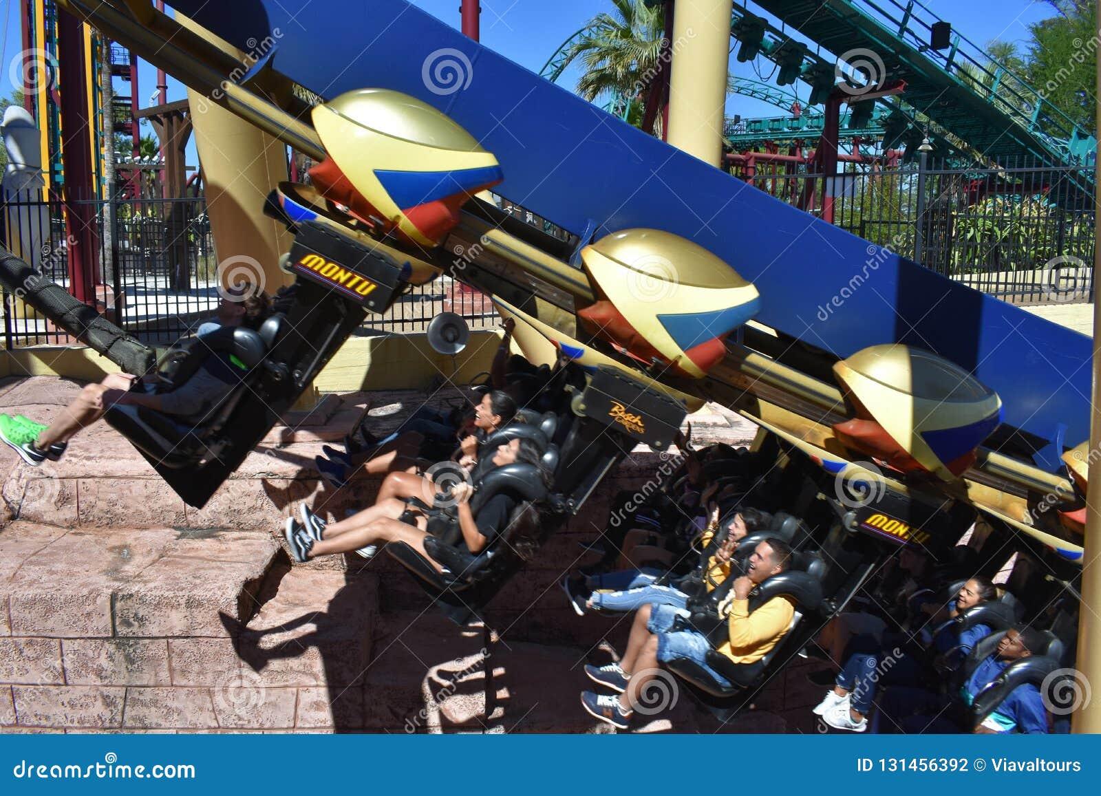Οι άνθρωποι που απολαμβάνουν Rollercoaster Montu, σε έναν 45 βαθμό αναρριχούνται στους κήπους Tampa Bay του Μπους