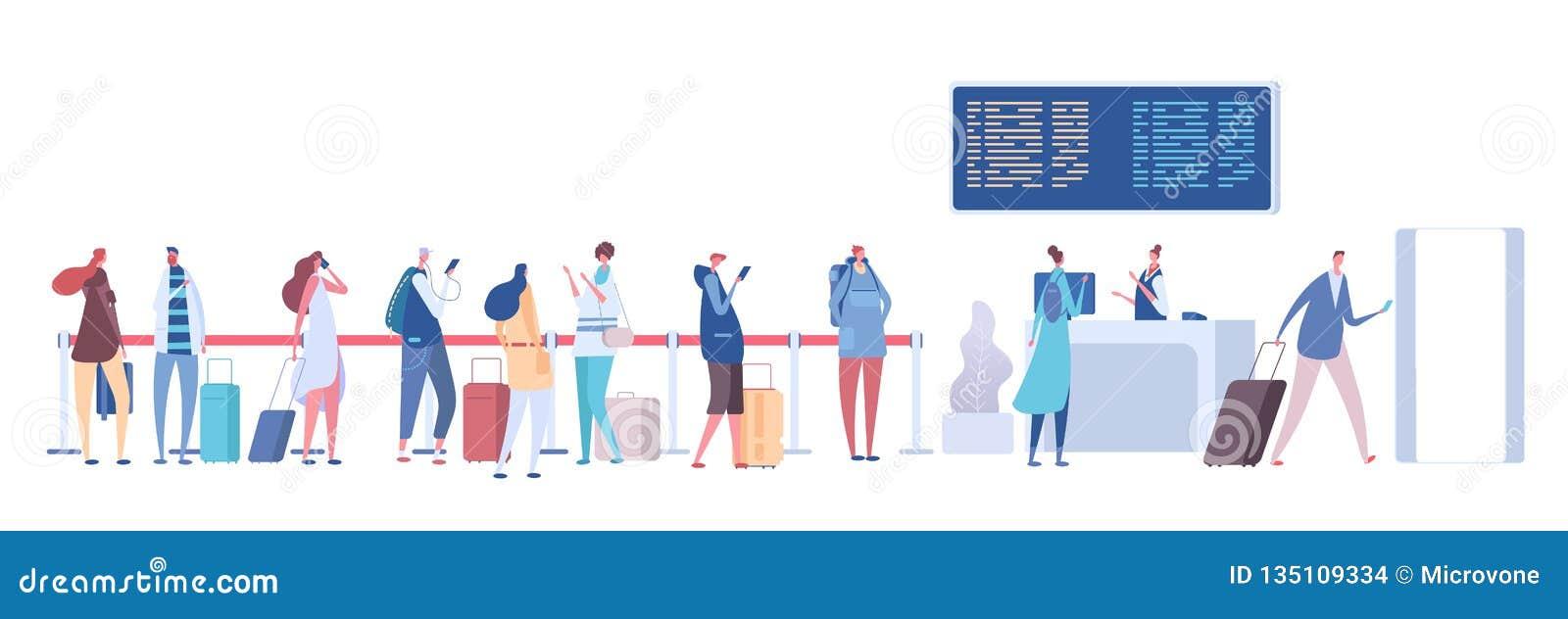 Οι άνθρωποι στον αερολιμένα περιμένουν στη σειρά Ταξιδιωτικές αποσκευές στη γραμμή, έλεγχος στην εγγραφή στο τερματικό Διάνυσμα α