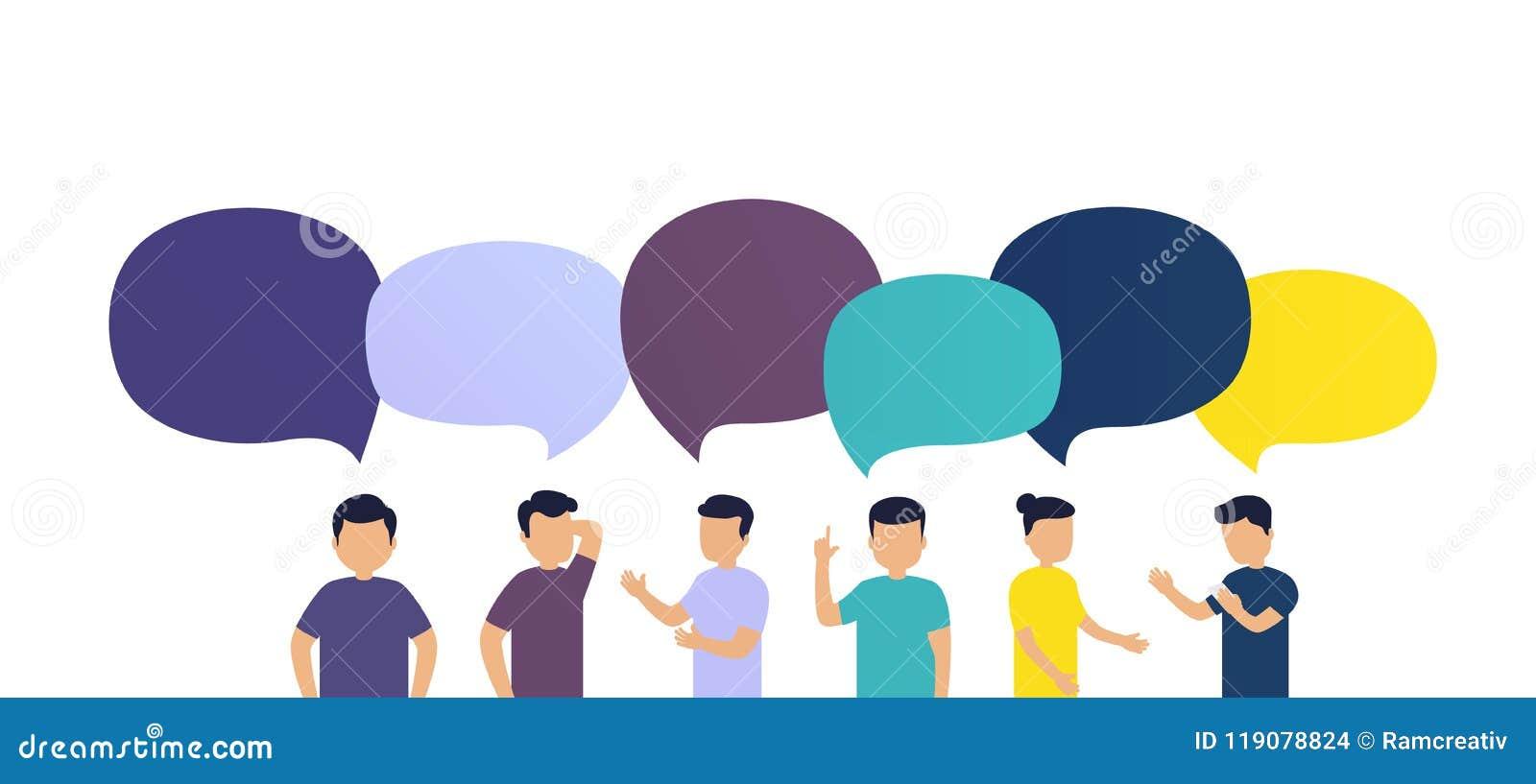 Οι άνθρωποι συζητούν τις ειδήσεις ο ένας με τον άλλον Ανταλλαγή των μηνυμάτων ή των ιδεών, λεκτικές φυσαλίδες σχετικά με το άσπρο