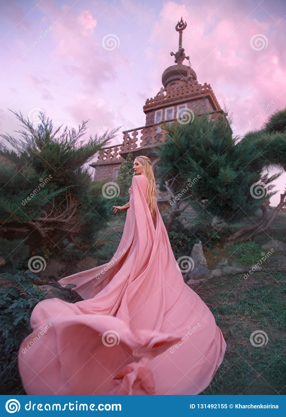 Οι άνοδοι νεραιδών μαγισσών στο κάστρο, πριγκήπισσα με τα ξανθά μαλλιά, πλάγιος και την τιάρα ντύνουν το ρόδινους φόρεμα και τον