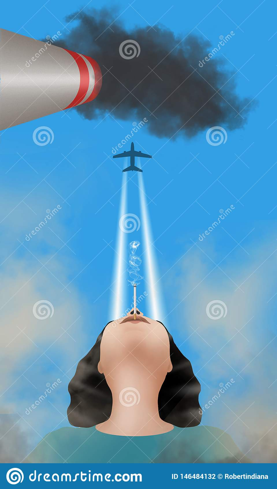 Οι ίχνος-ανθρώπινοι παραγμένοι ατμοί ατμού που είναι στην ατμόσφαιρα είναι διευκρινισμένοι με μια γυναίκα που καπνίζουν και το ίχ