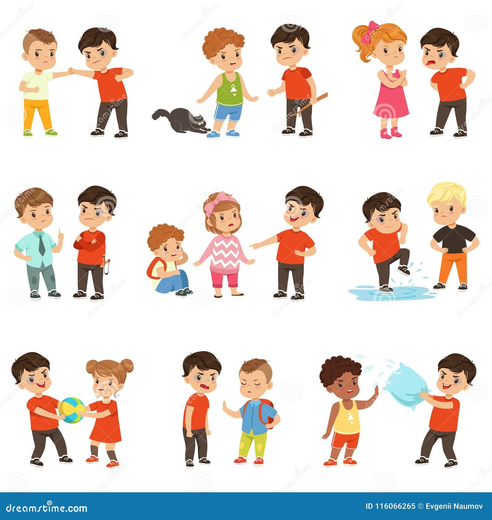 Οι γενναίοι χαρακτήρες παιδιών που αντιμετωπίζουν τους χούλιγκαν θέτουν, κακό αγόρι που φοβερίζει διανυσματικές απεικονίσεις τις