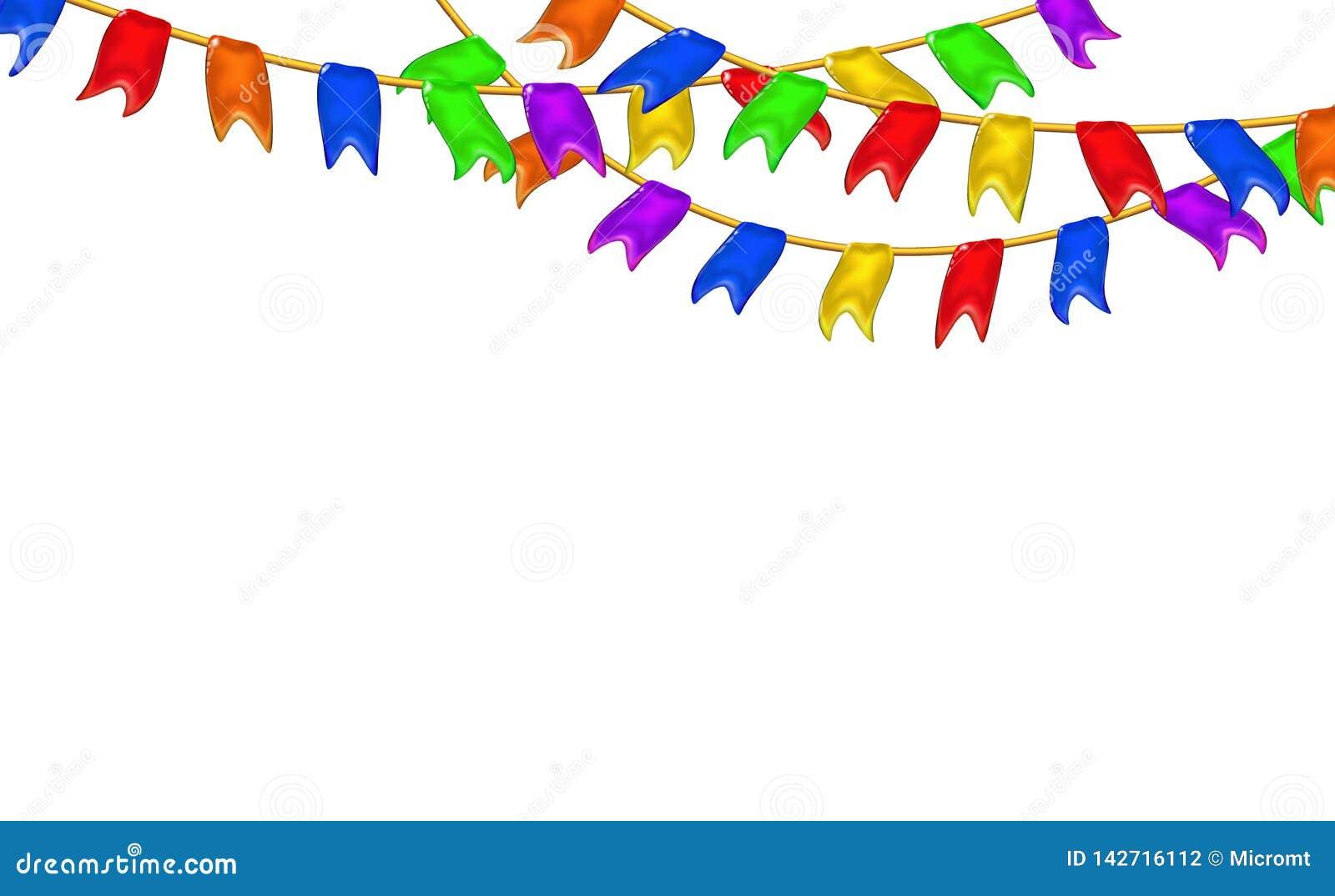 Οι γιρλάντες καρναβαλιού σημαιοστολίζουν τις διακοσμητικές πολύχρωμες, τρισδιάστατες στιλπνές μικρές σημαίες καραμέλας που κρεμού