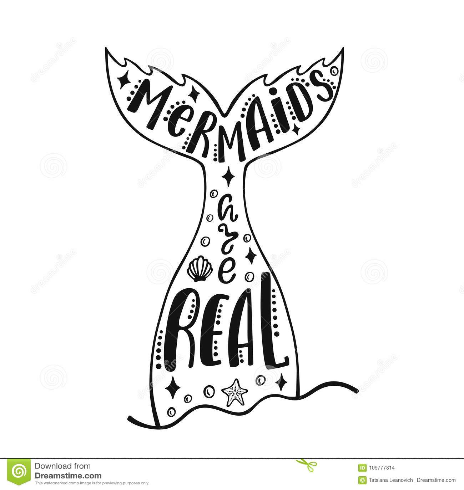Οι γοργόνες είναι πραγματικές Συρμένο χέρι απόσπασμα έμπνευσης για το καλοκαίρι με την ουρά γοργόνων ` s, αστέρια θάλασσας, κοχύλ