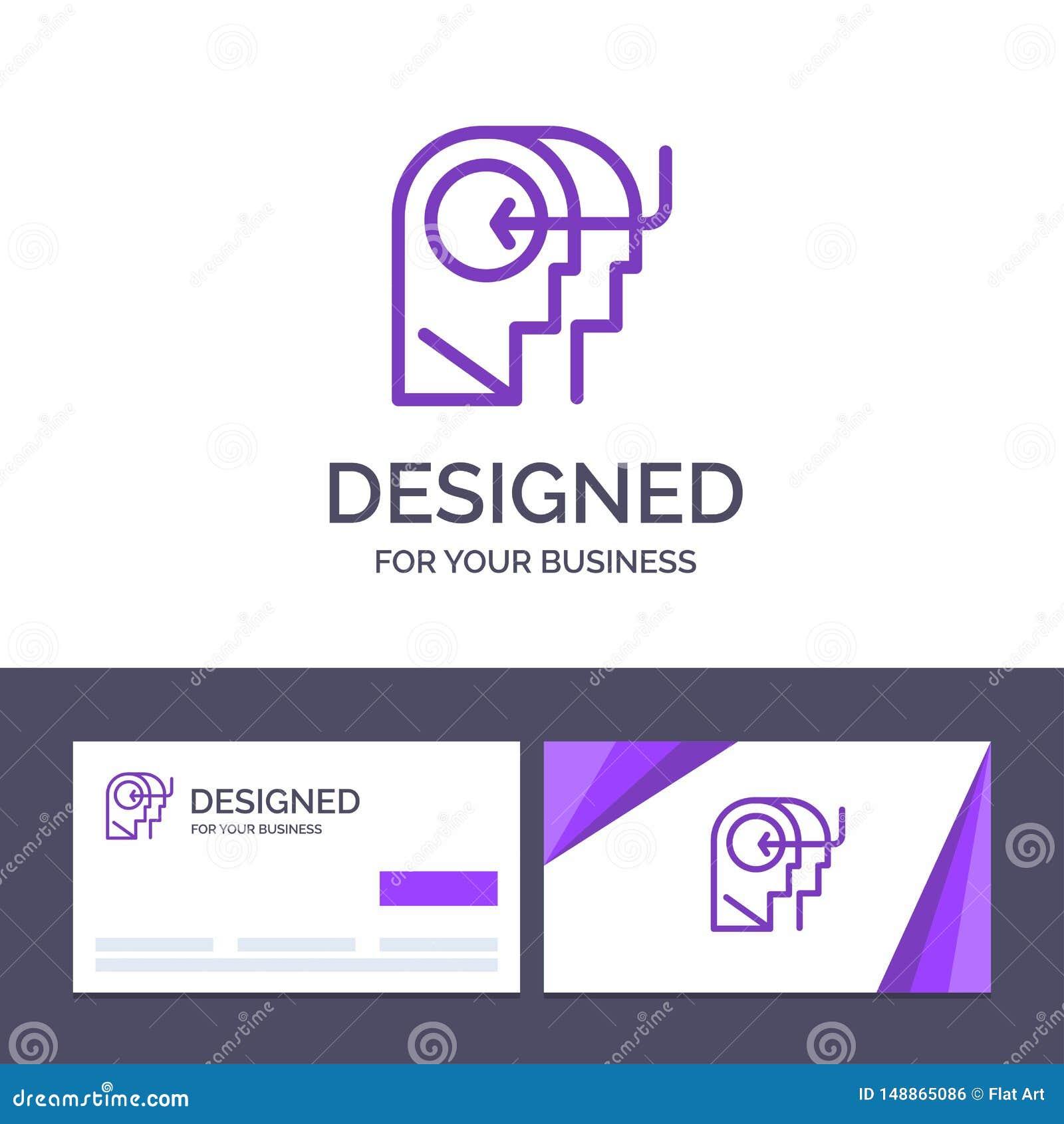 Οι δημιουργικοί άνθρωποι προτύπων επαγγελματικών καρτών και λογότυπων, διδασκαλία, κεφάλι, απασχολούν τη διανυσματική απεικόνιση