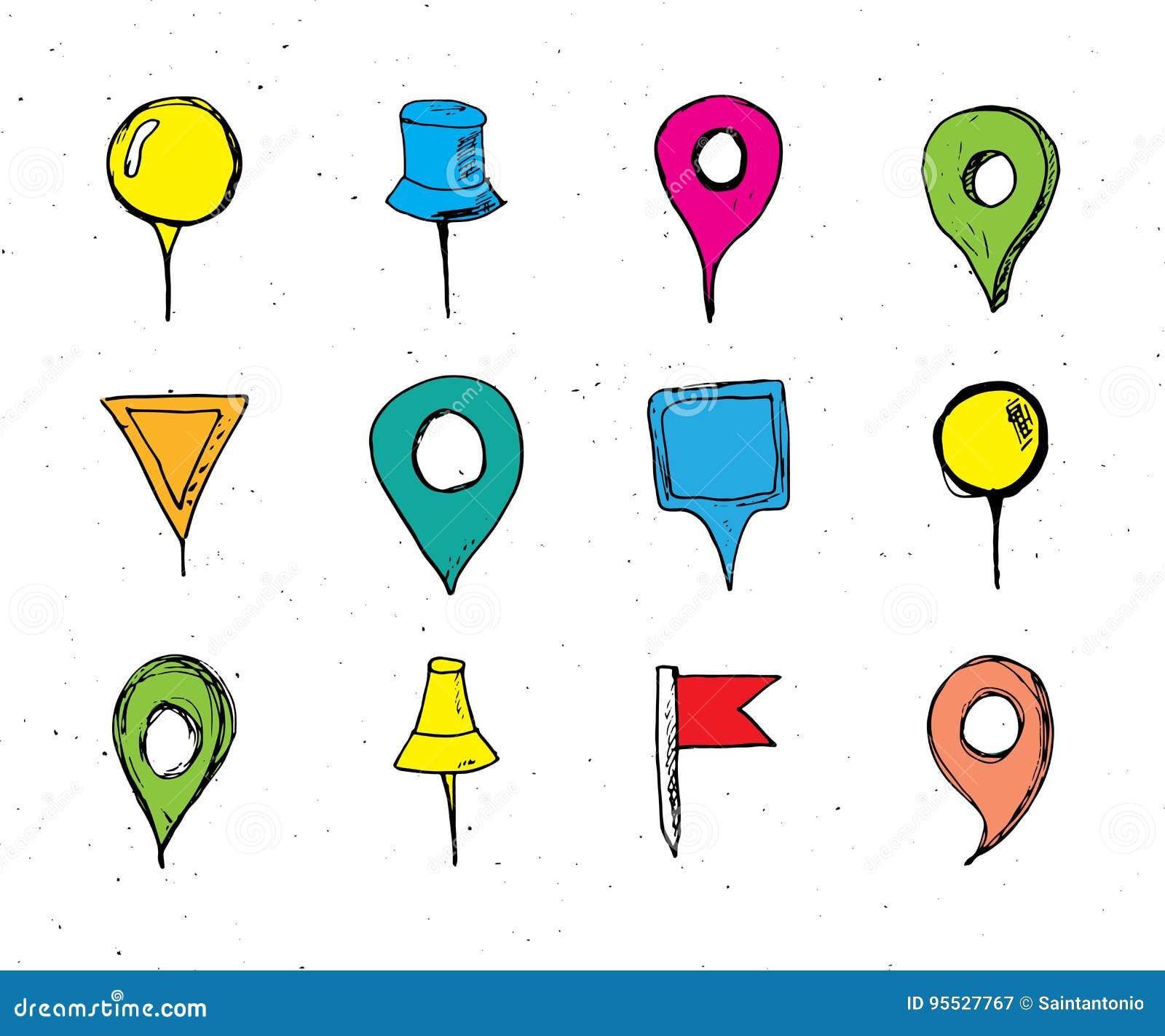 Οι δείκτες χαρτών δίνουν το συρμένο σύνολο σκίτσων, η ναυσιπλοΐα καρφώνει doodle το διανυσματικό illstration στο άσπρο υπόβαθρο