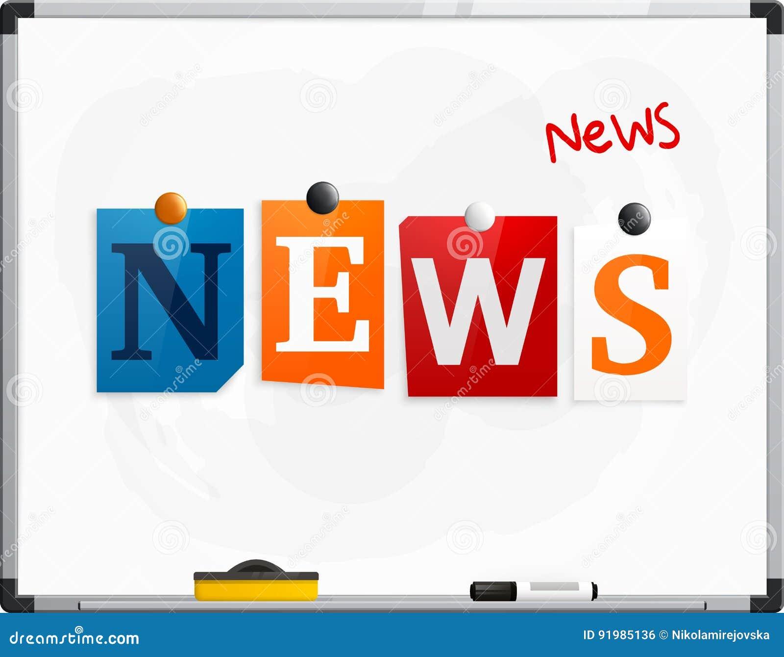 Οι ειδήσεις λέξης έκαναν από τις επιστολές εφημερίδων που συνδέθηκαν με ένα whiteboard ή noticeboard με τους μαγνήτες Μάνδρα δεικ