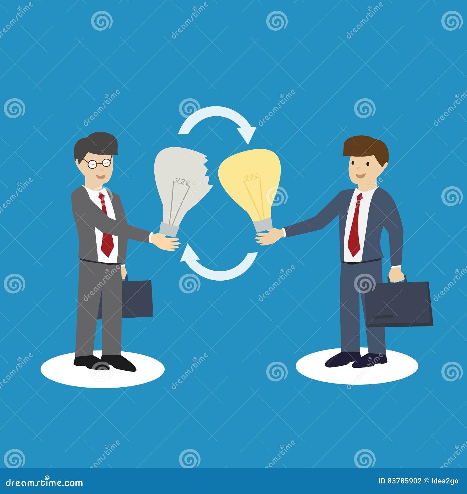 Οι επιχειρηματίες ανταλλάσσουν τις ιδέες Ανταλλαγή της έννοιας