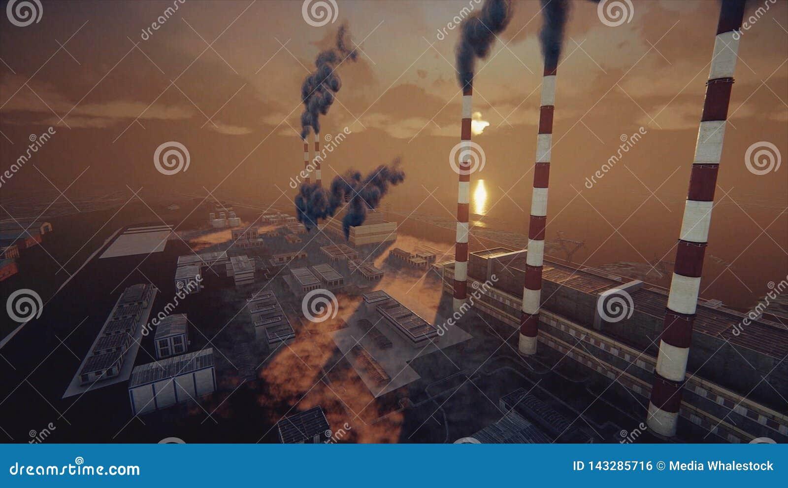 Οι καπνίζοντας καπνοδόχοι των εγκαταστάσεων και του αφηρημένου εργοστασίου στην παχιά αιθαλομίχλη, οικολογικά προβλήματα και έννο