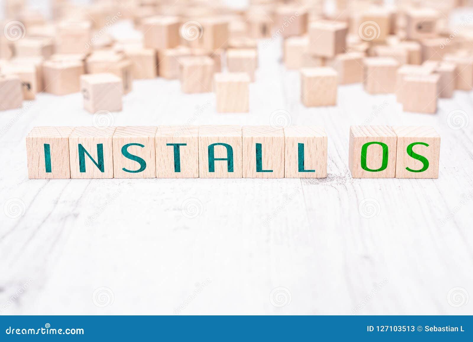 Οι λέξεις εγκαθιστούν το OS που διαμορφώνεται από τους ξύλινους φραγμούς σε έναν άσπρο πίνακα