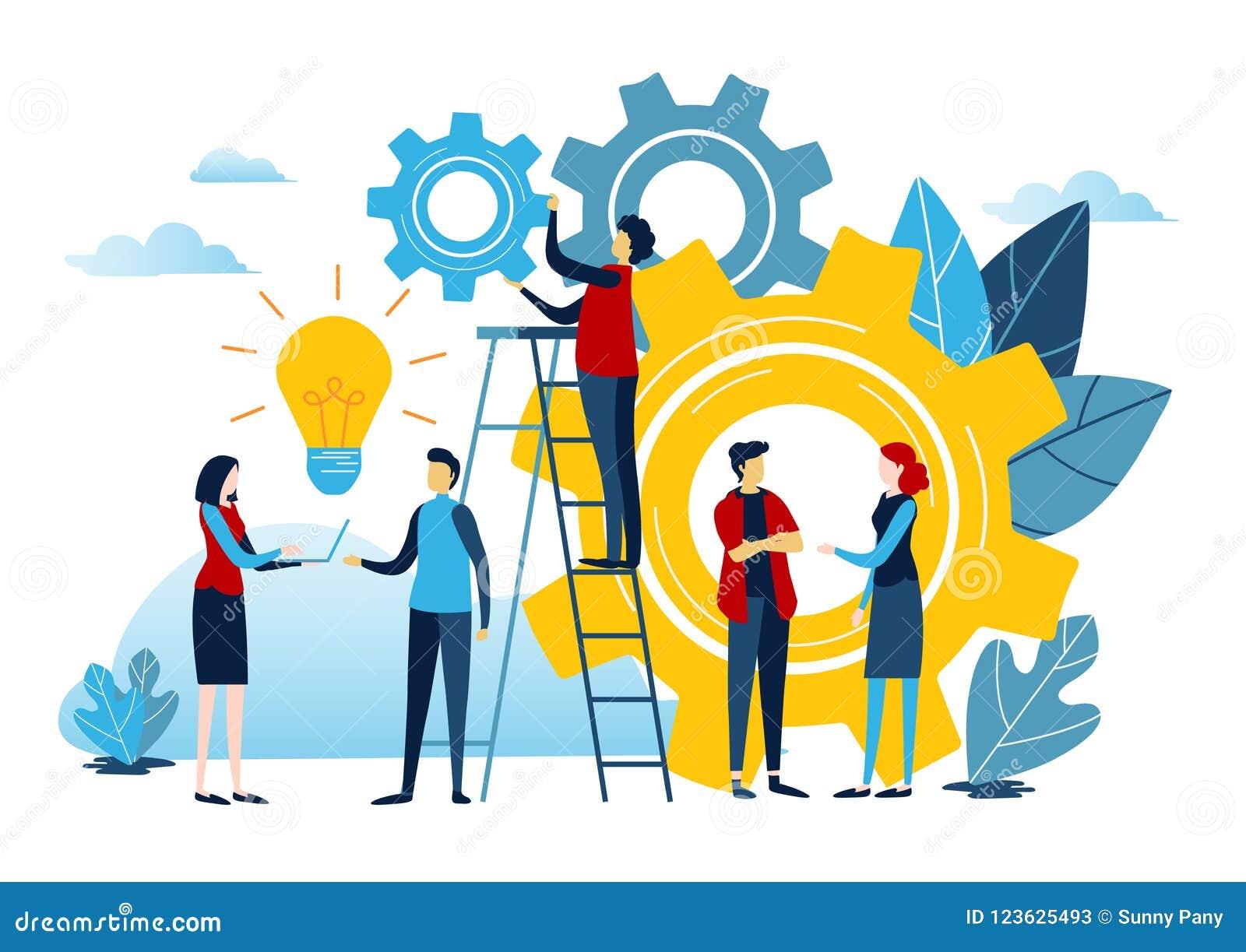 Οι μίνι άνθρωποι δημιουργούν την ιδέα στην επιτυχία Διανυσματικός γραφικός επιχειρησιακής απεικόνισης στο άσπρο υπόβαθρο Επίπεδος