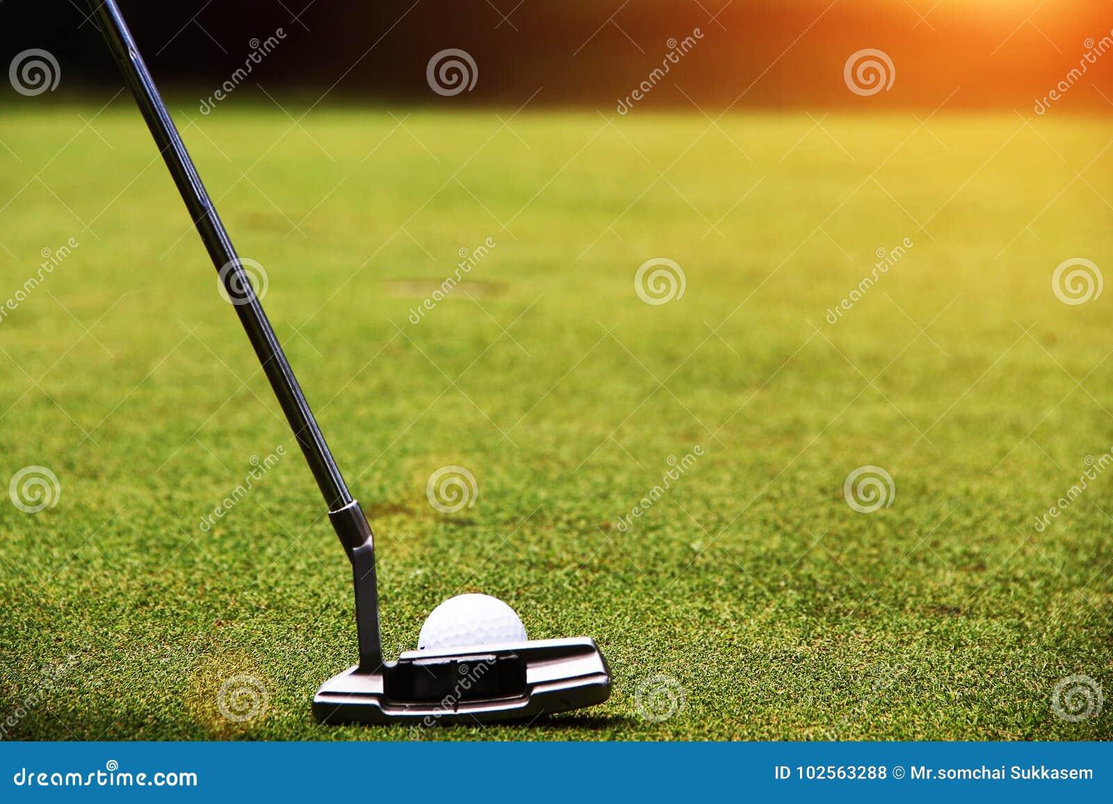Οι παίκτες γκολφ βάζουν το γκολφ στο γήπεδο του γκολφ βραδιού