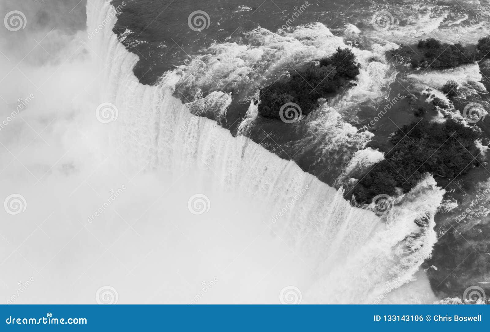 Οι περικοπές ποταμών Niagara μέσω των Ηνωμένων Πολιτειών και Καναδάς στο Χ