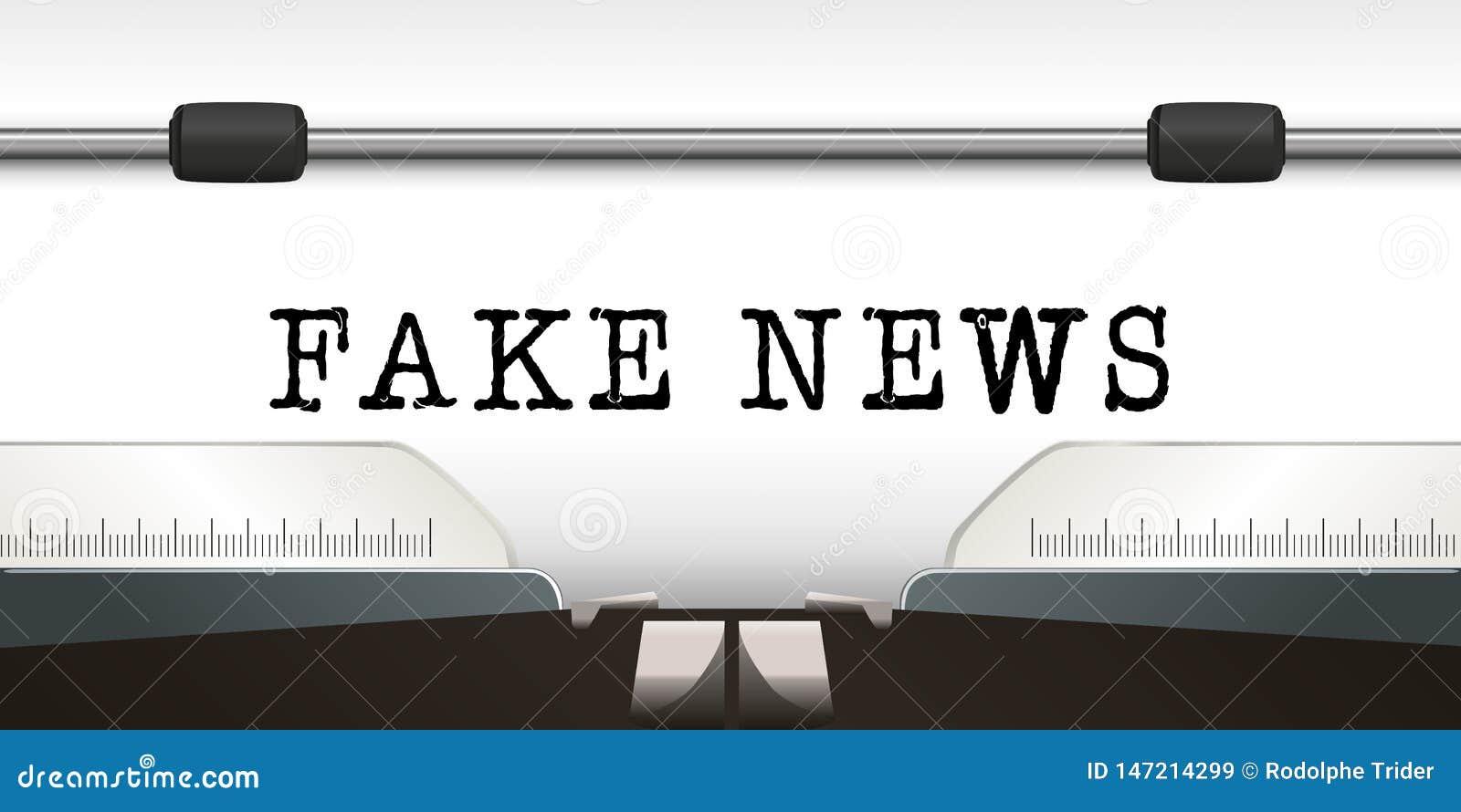 Οι πλαστές ειδήσεις λέξης είναι γράφουν σε ένα άσπρο φύλλο μιας γραφομηχανής