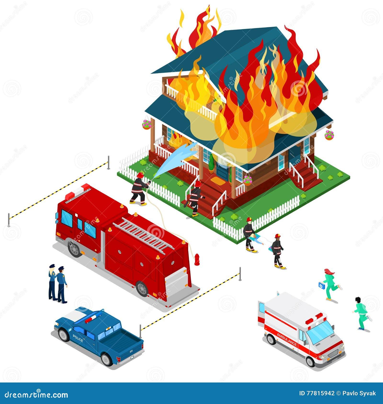 Οι πυροσβέστες εξαφανίζουν μια Isometric πόλη πυρκαγιάς στο εσωτερικό Ο πυροσβέστης βοηθά την τραυματισμένη γυναίκα