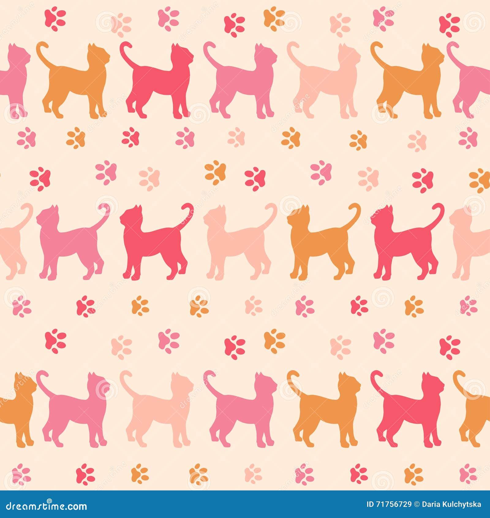 Οι ρόδινα γάτες και τα ίχνη σκιαγραφούν το άνευ ραφής σχέδιο