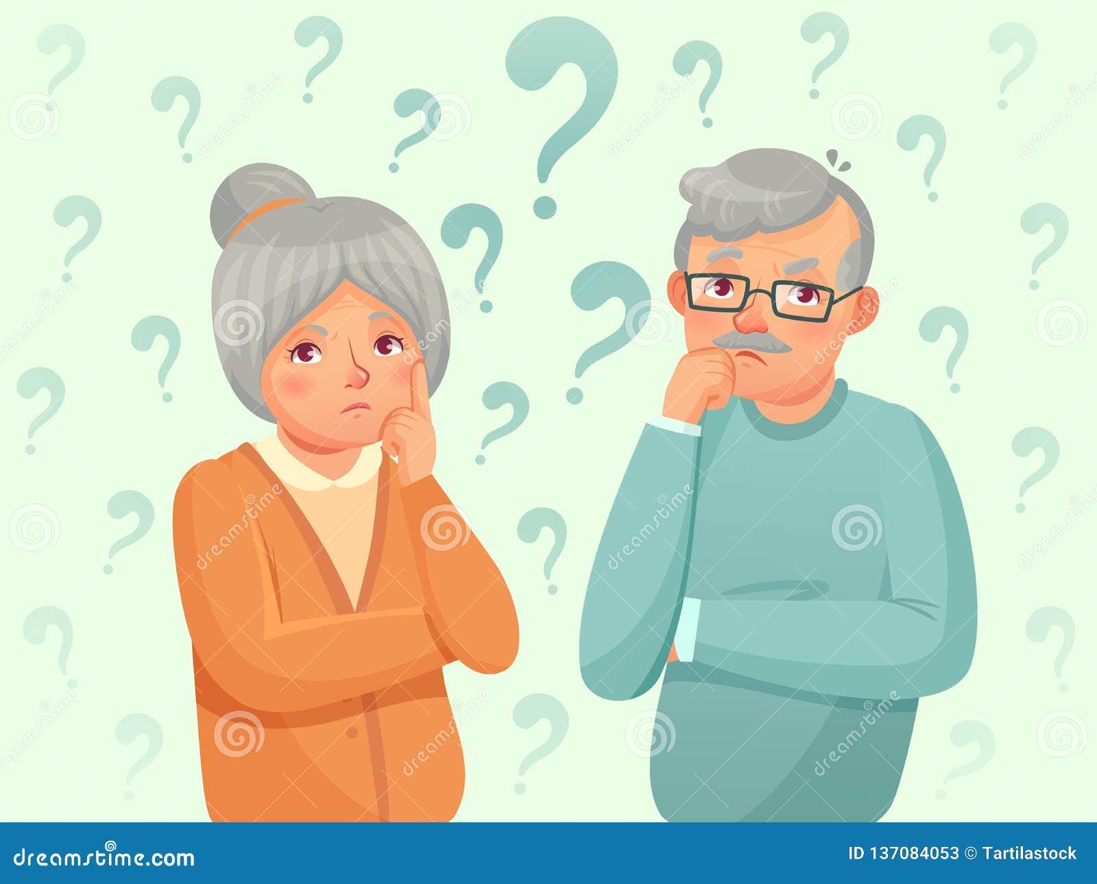 Οι σκεπτόμενοι πρεσβύτεροι συνδέουν Ταραγμένοι ηλικιωμένοι άνθρωποι Ο παππούς, γιαγιά ξεχνά και προσπαθώντας θυμηθείτε το διάνυσμ